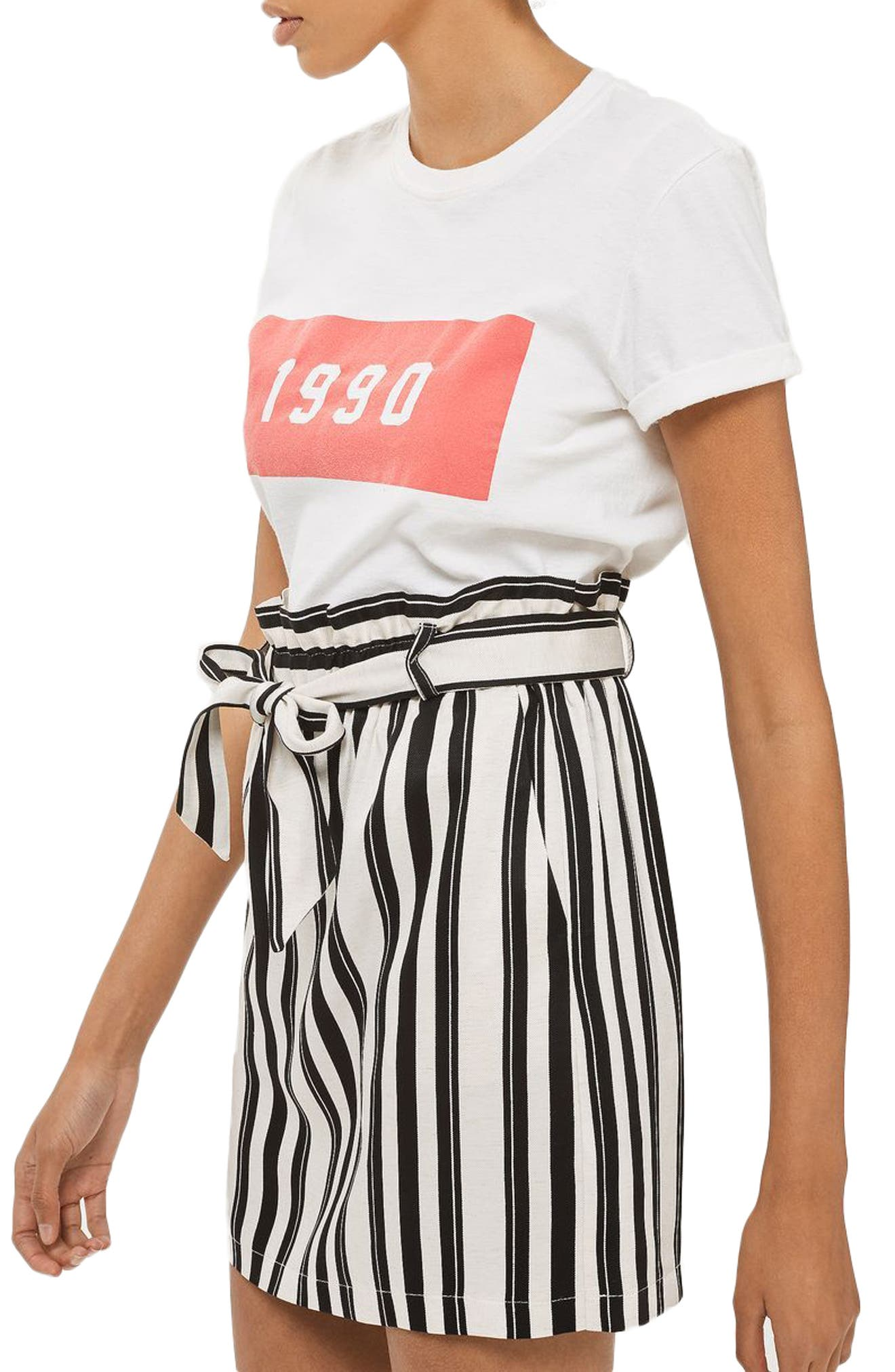 Topshop Stripe Paperbag Skirt