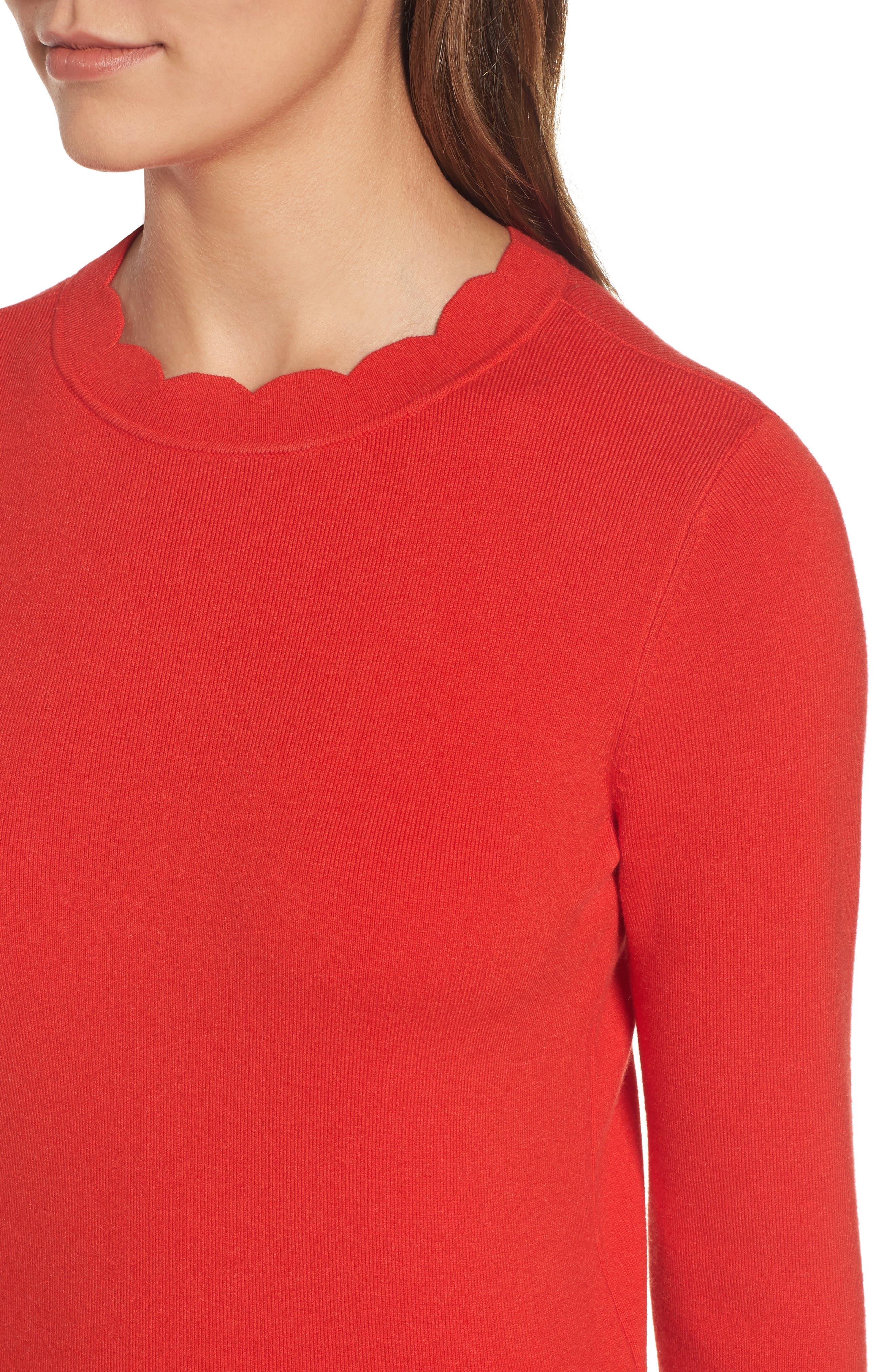 Alternate Image 5  - Halogen Scallop Edge Sweater (Regular & Petite)