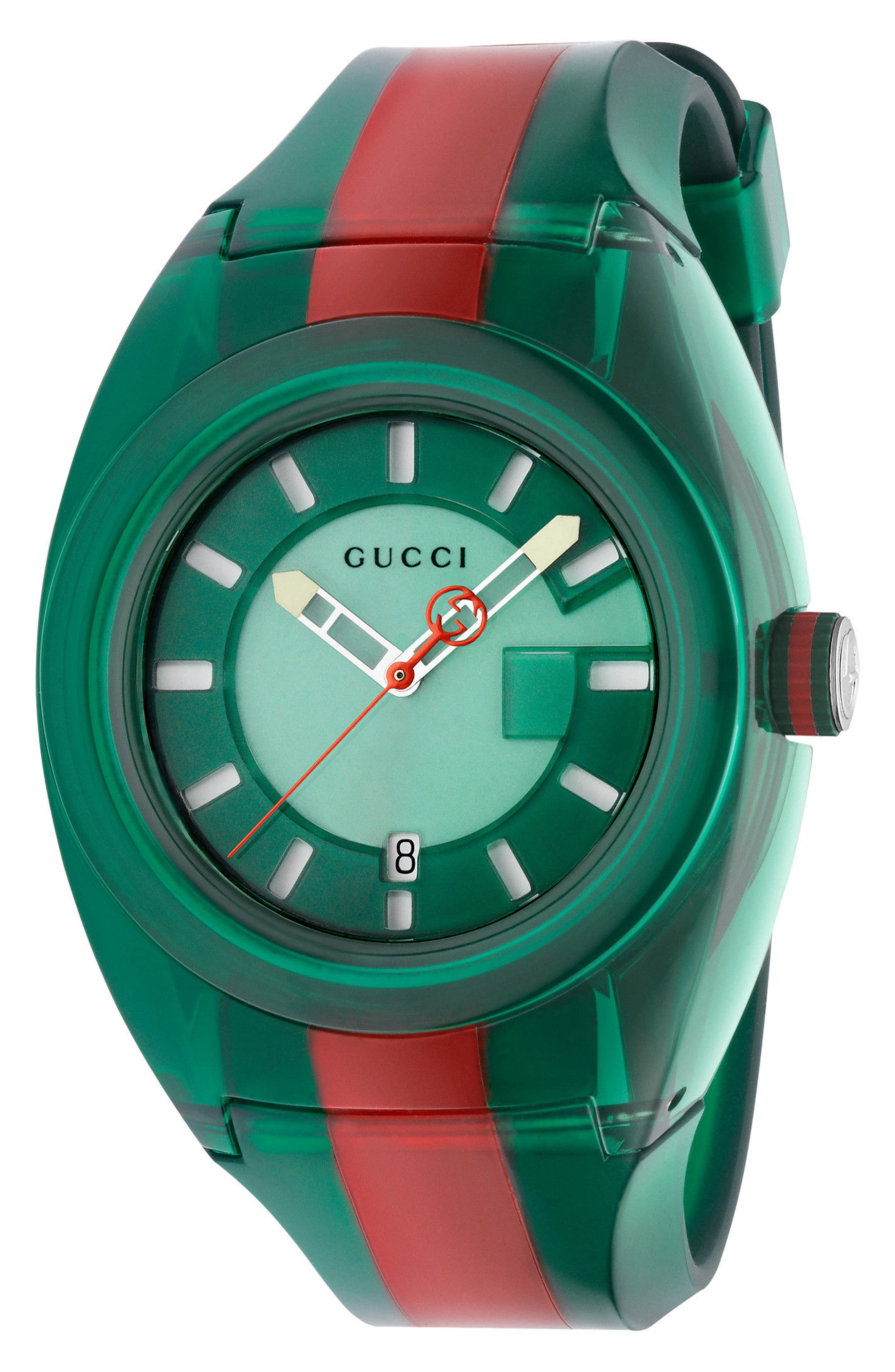 Sync Transparent Rubber Strap Watch, 46mm,                         Main,                         color, Green