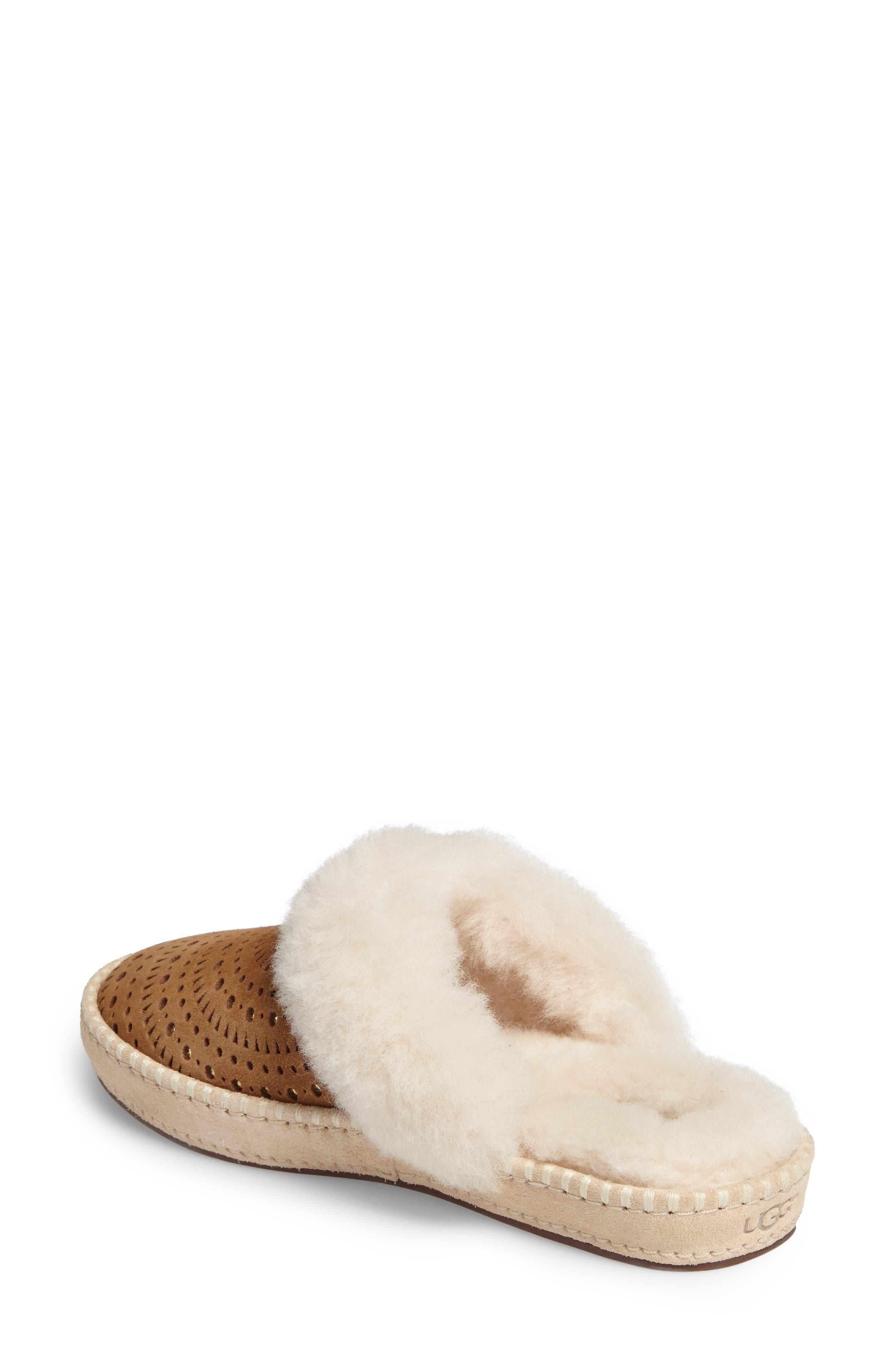 Aira Sunshine Genuine Shearling Slipper,                             Alternate thumbnail 3, color,                             Chestnut Suede