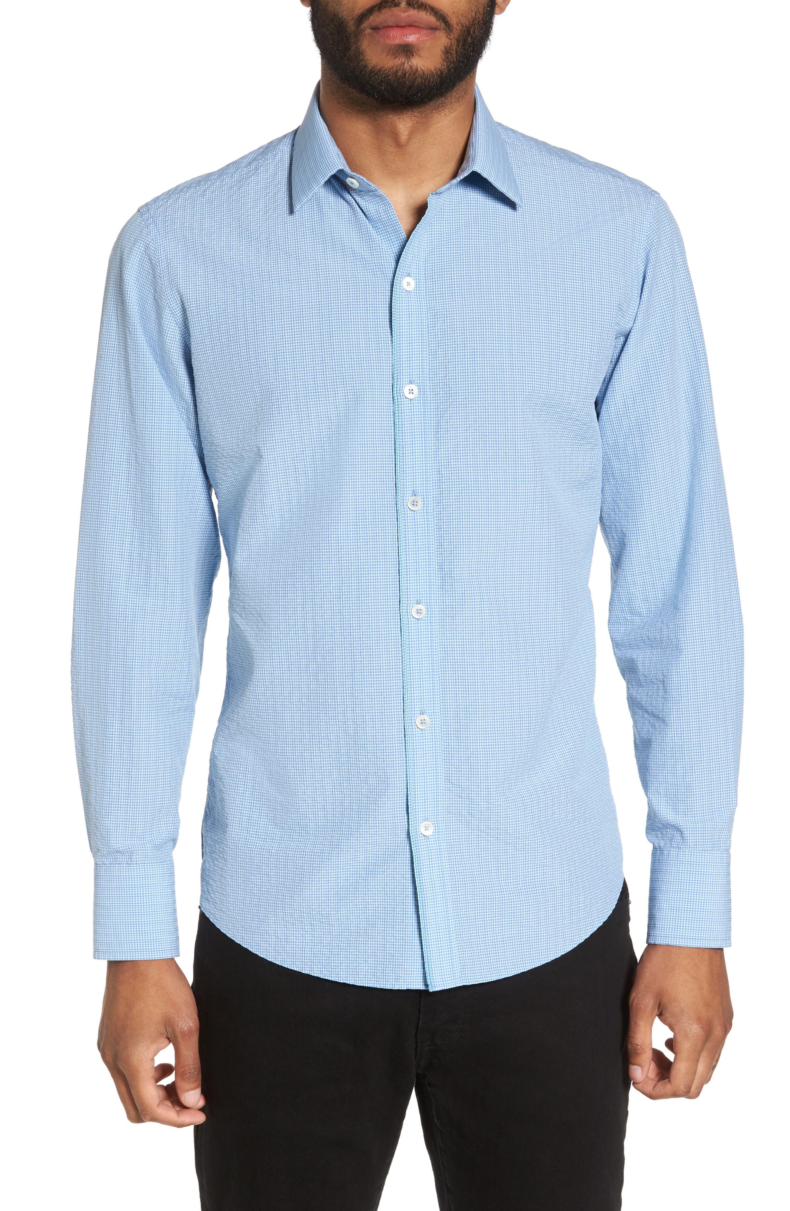 Nees Gingham Sport Shirt,                         Main,                         color, Pale Blue