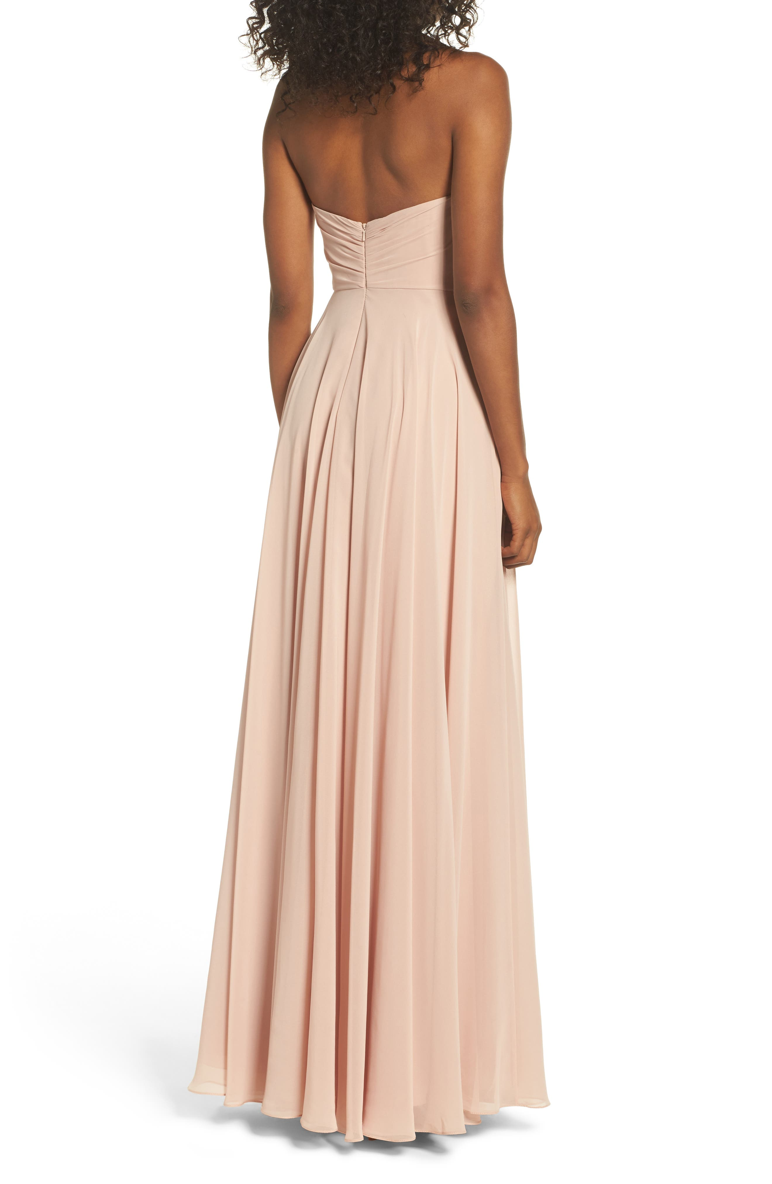 Adeline Strapless Chiffon Gown,                             Alternate thumbnail 2, color,                             Desert Rose