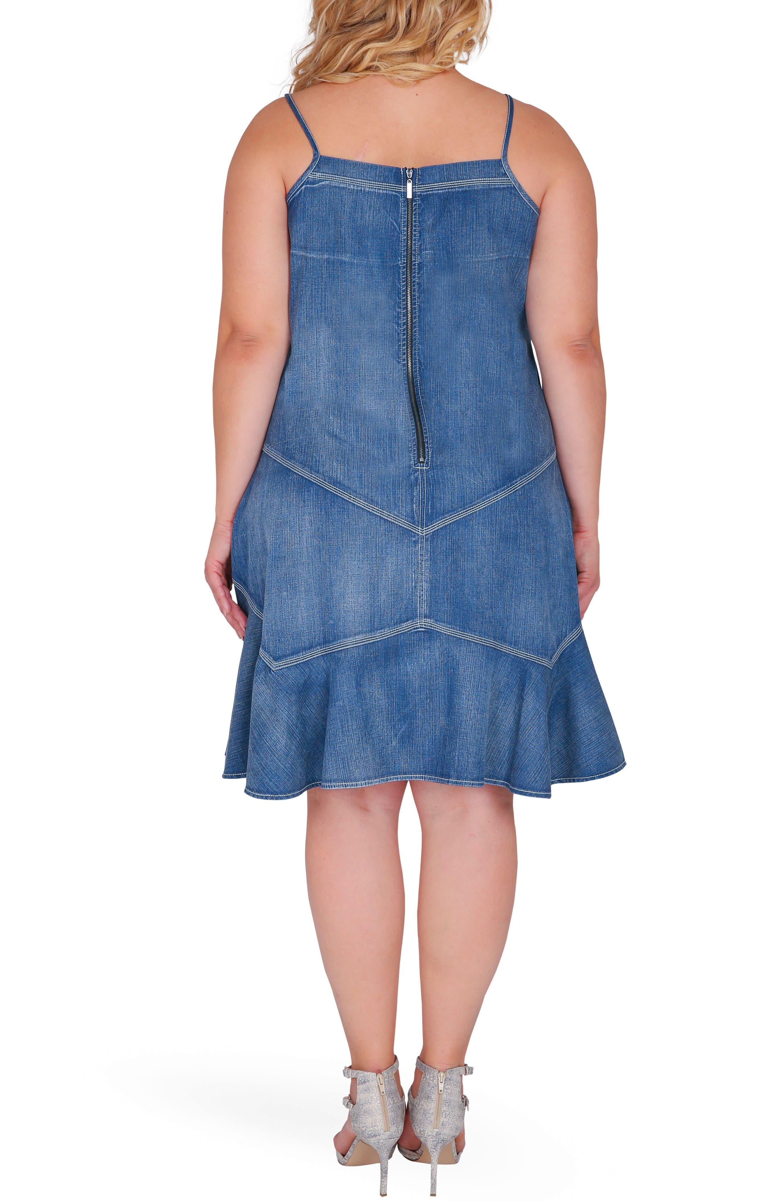 Rosie Denim Tank Dress,                             Alternate thumbnail 2, color,                             Enchanted Blue