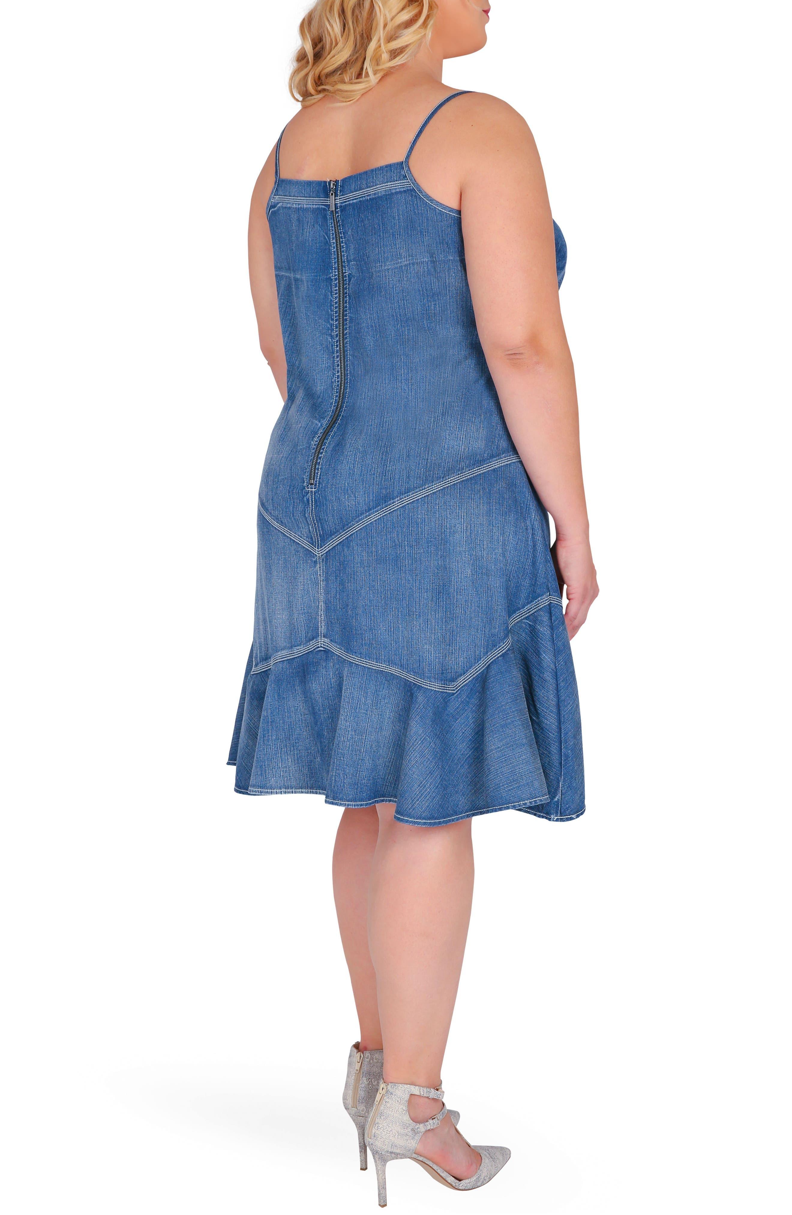 Rosie Denim Tank Dress,                             Alternate thumbnail 3, color,                             Enchanted Blue