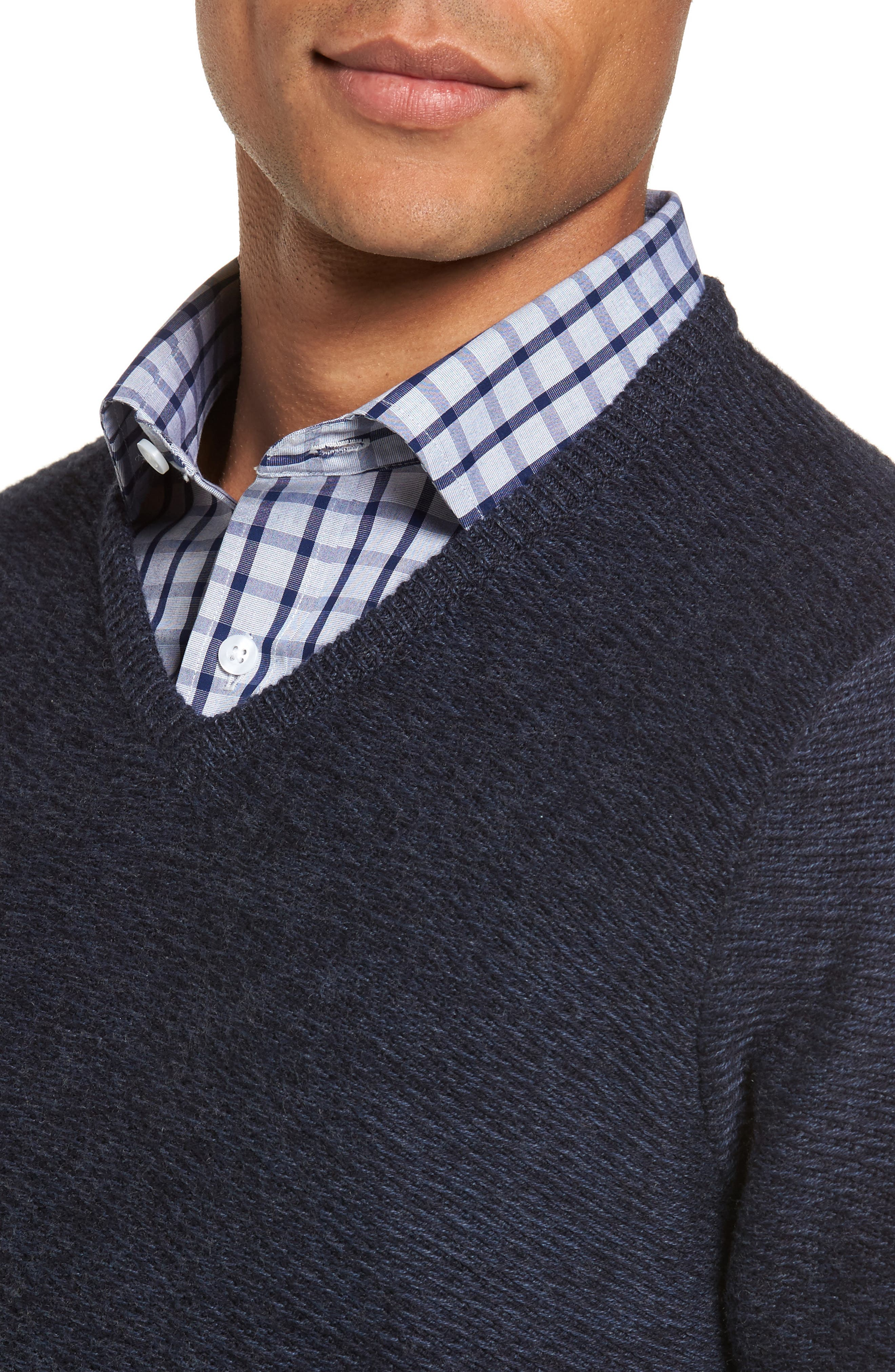 Cotton & Cashmere V-Neck Sweater,                             Alternate thumbnail 5, color,                             Navy Iris Melange