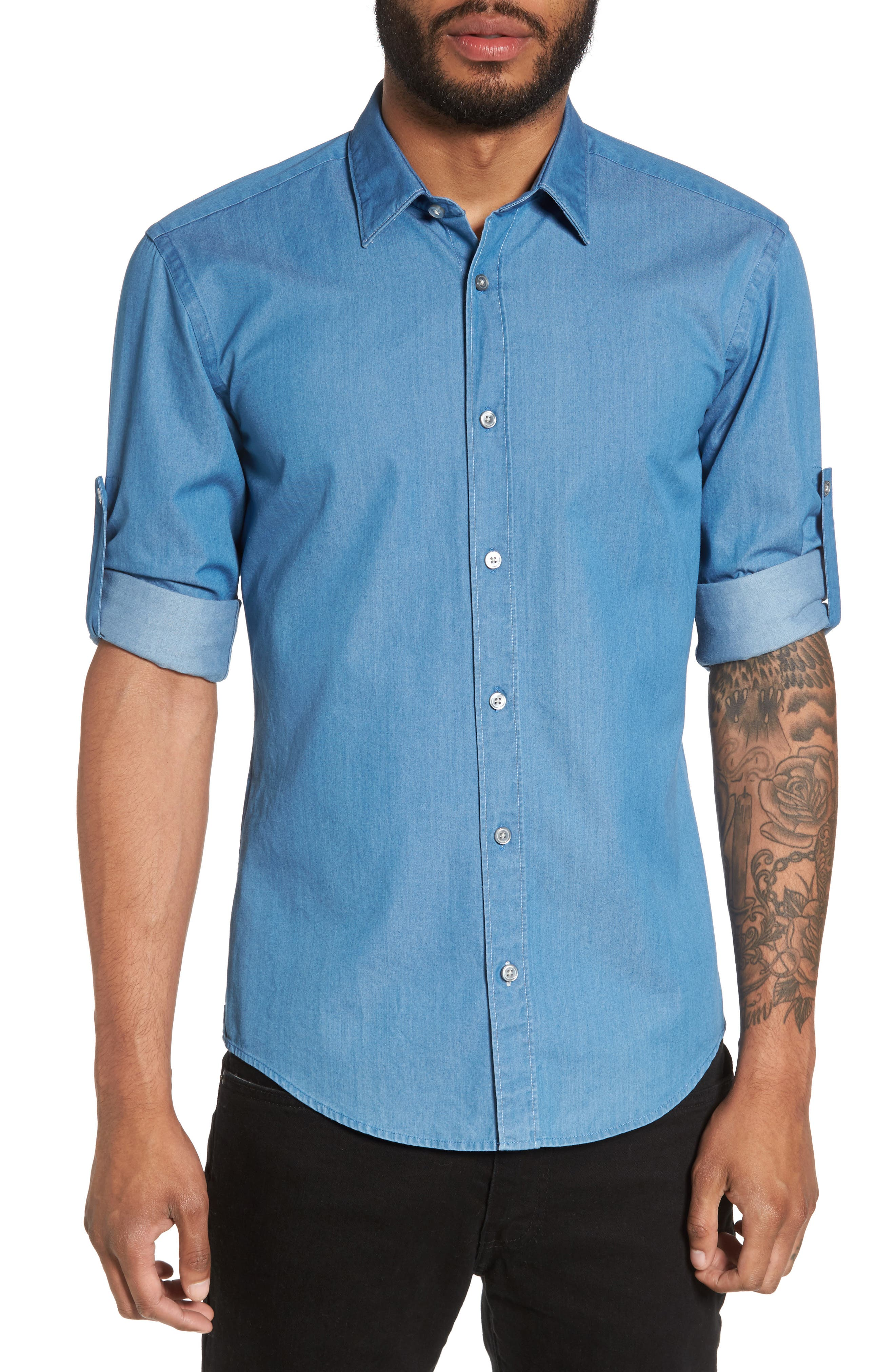 Reid Denim Sport Shirt,                         Main,                         color, Blue