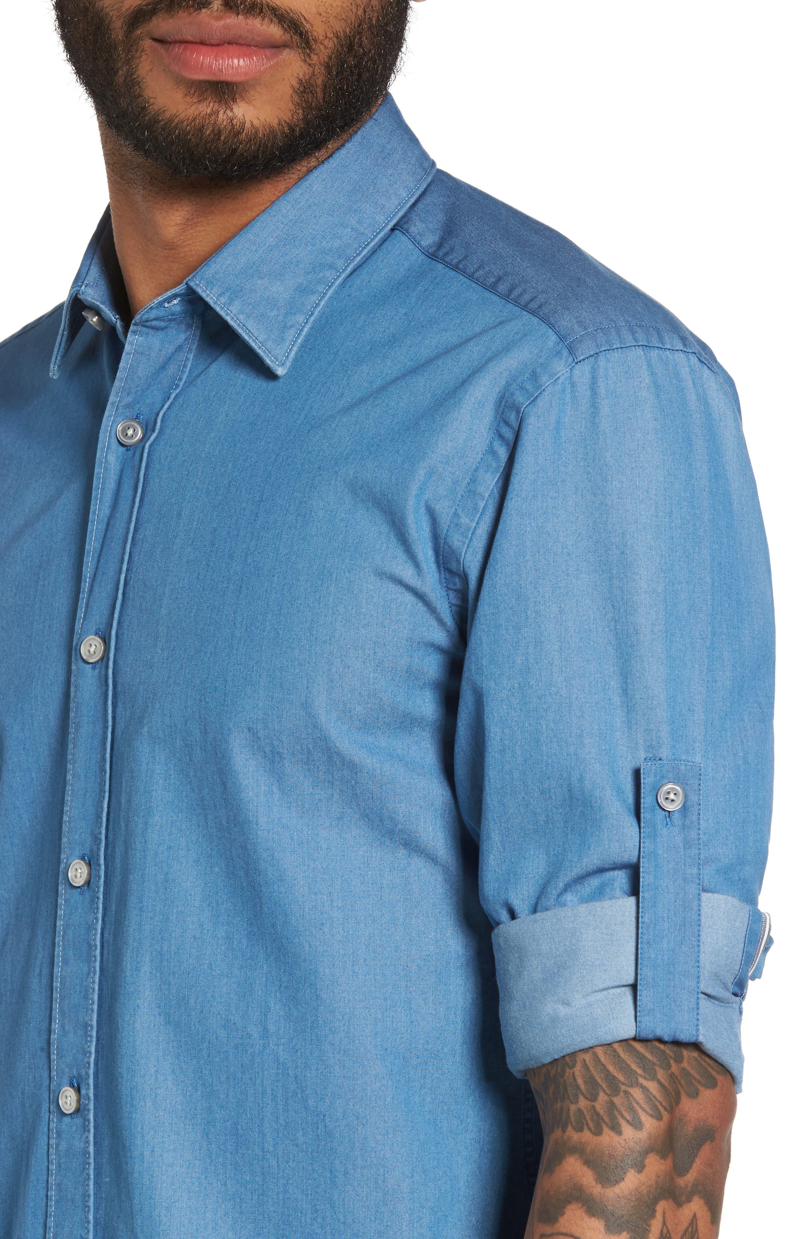 Reid Denim Sport Shirt,                             Alternate thumbnail 4, color,                             Blue