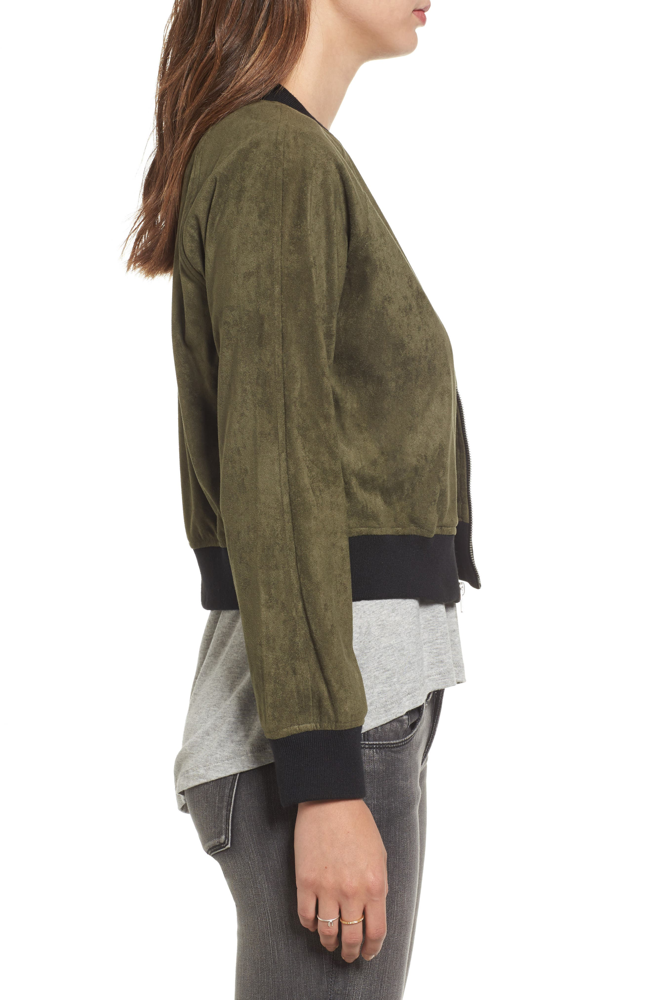 Ellie Faux Suede Bomber Jacket,                             Alternate thumbnail 3, color,                             Sage