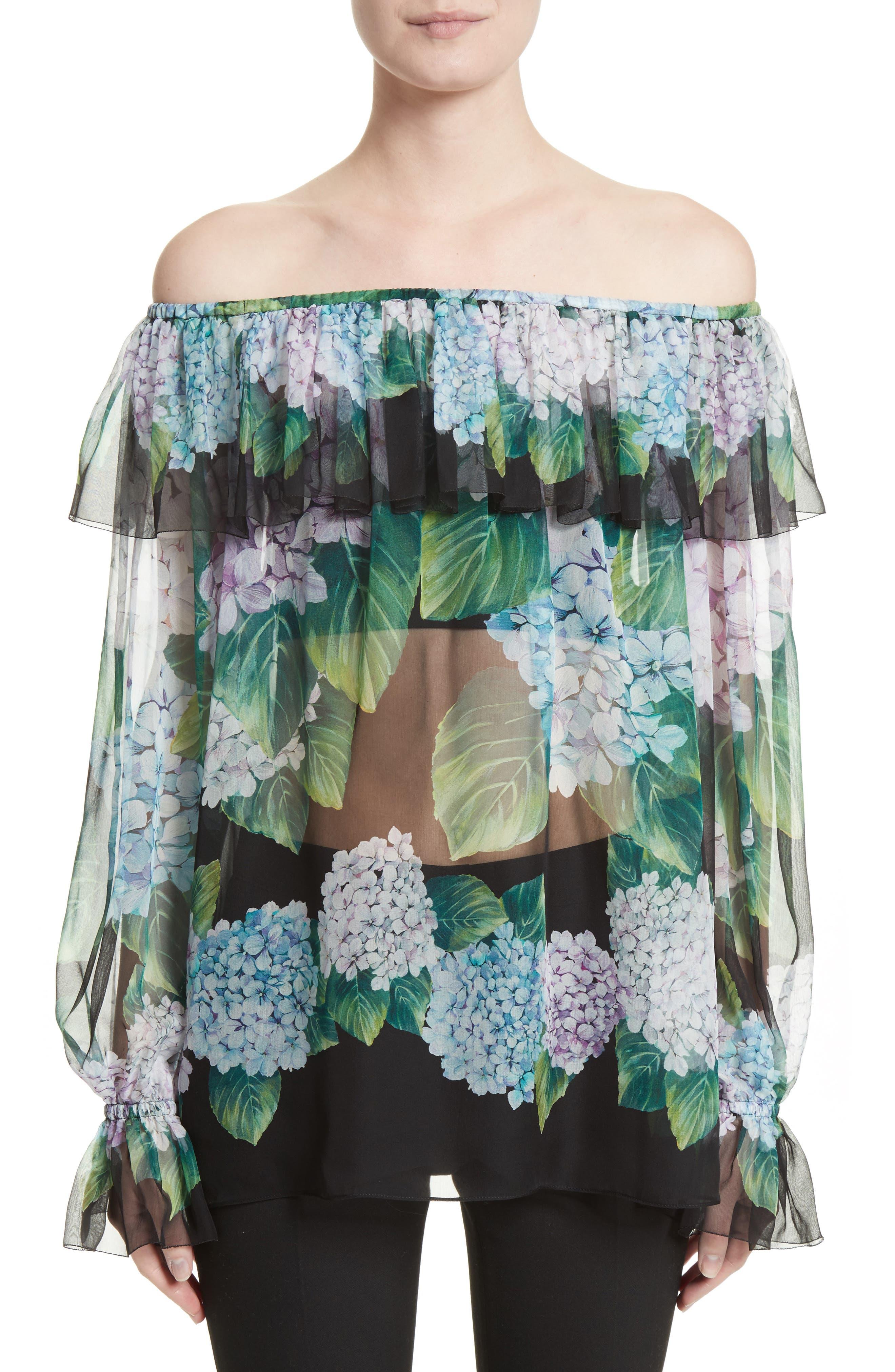 Dolce&Gabbana Hydrangea Print Silk Off the Shoulder Top