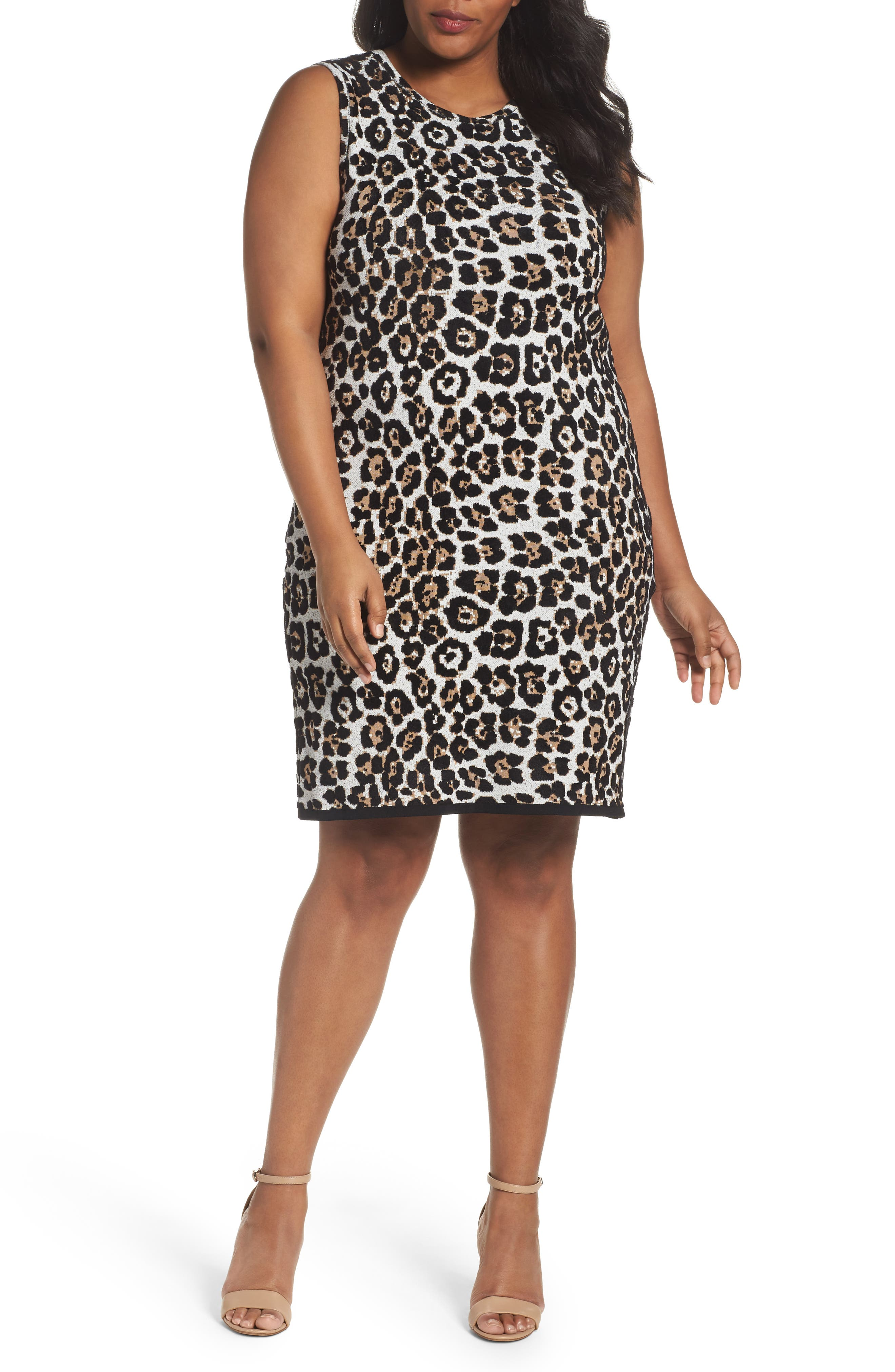 MICHAEL Michael Kors Leopard Print Sheath Dress (Plus Size)