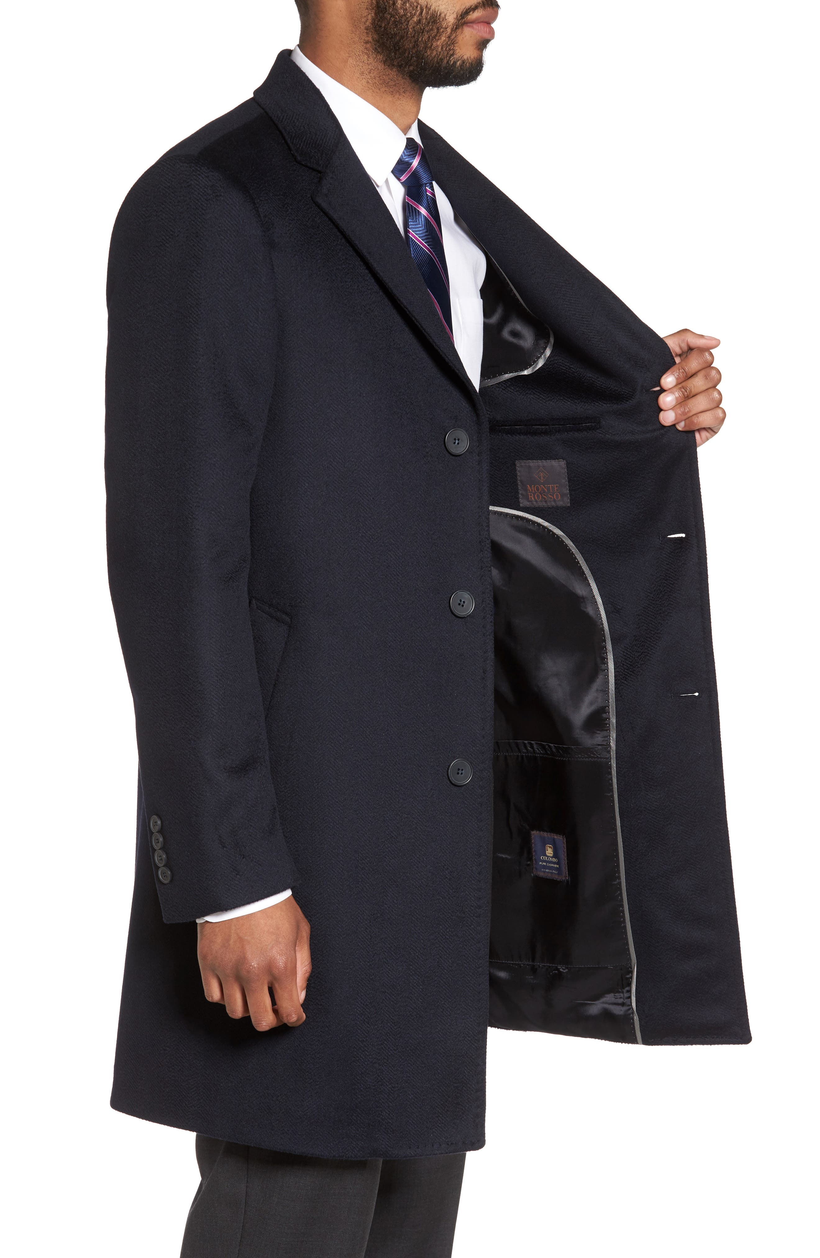 Culton Cashmere Overcoat,                             Alternate thumbnail 3, color,                             Navy