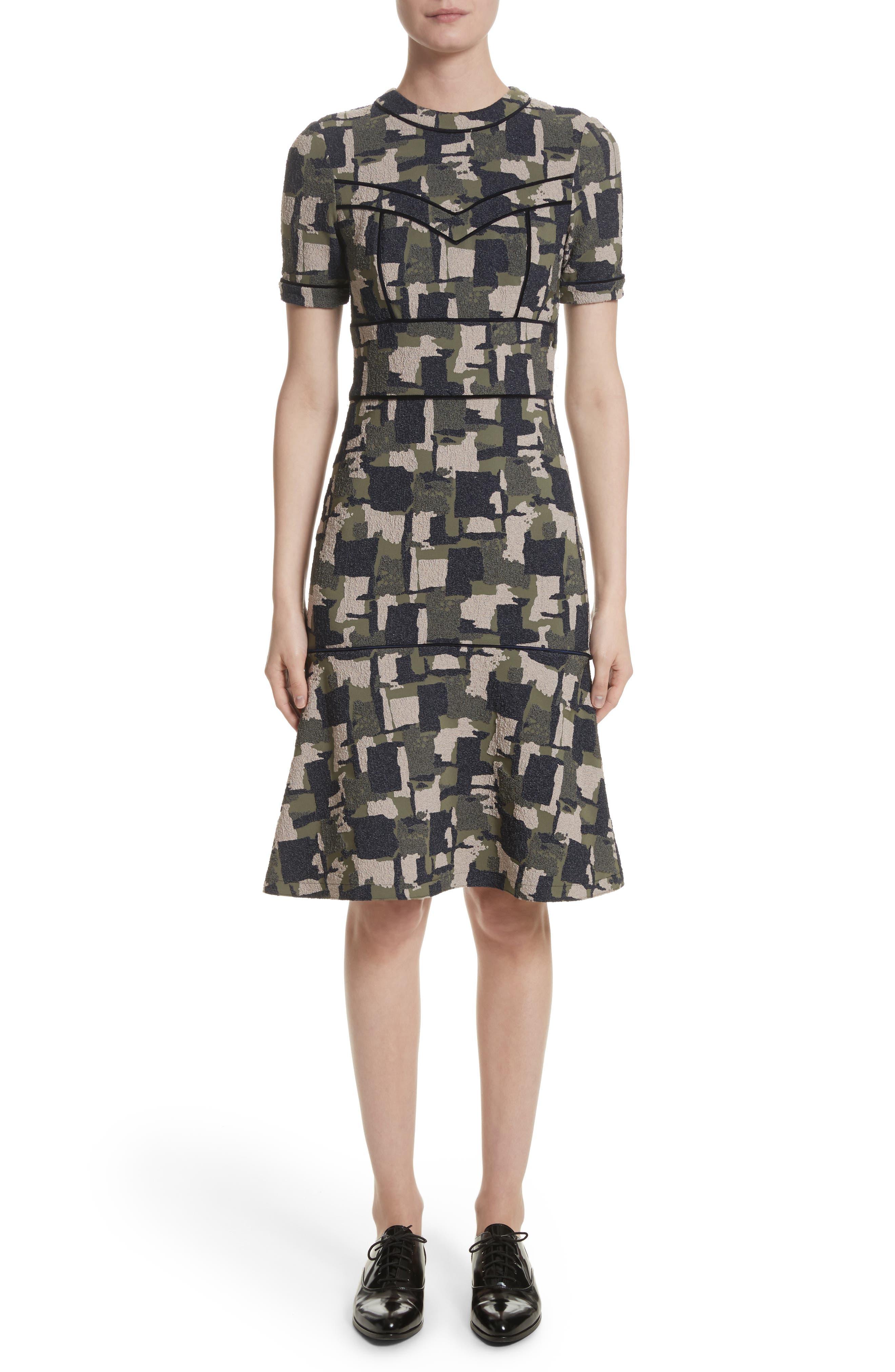 Patchwork Stretch Jacquard Dress,                         Main,                         color, Midnight Multi