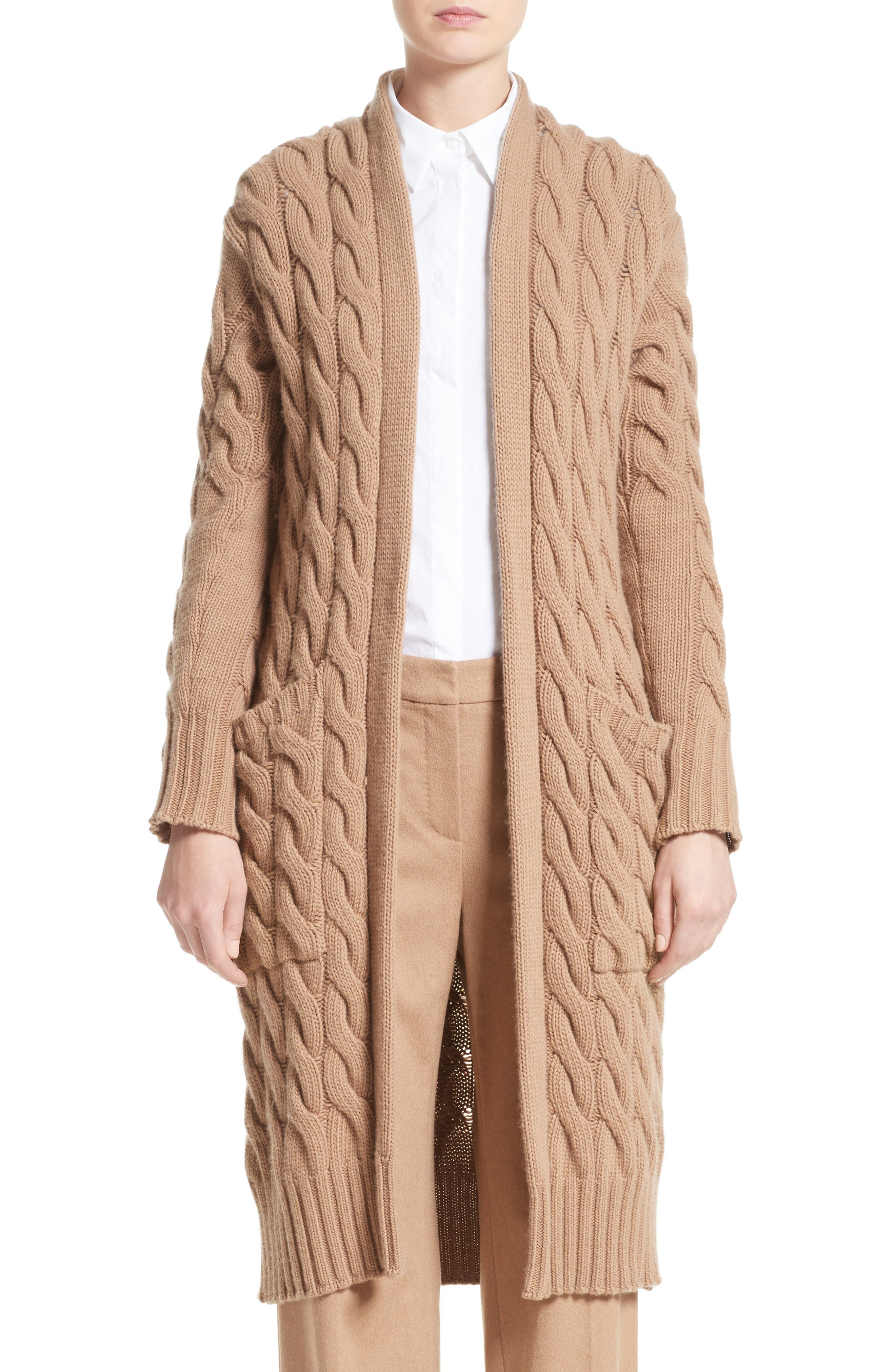 Max Mara Violino Cable Knit Wool & Cashmere Cardigan