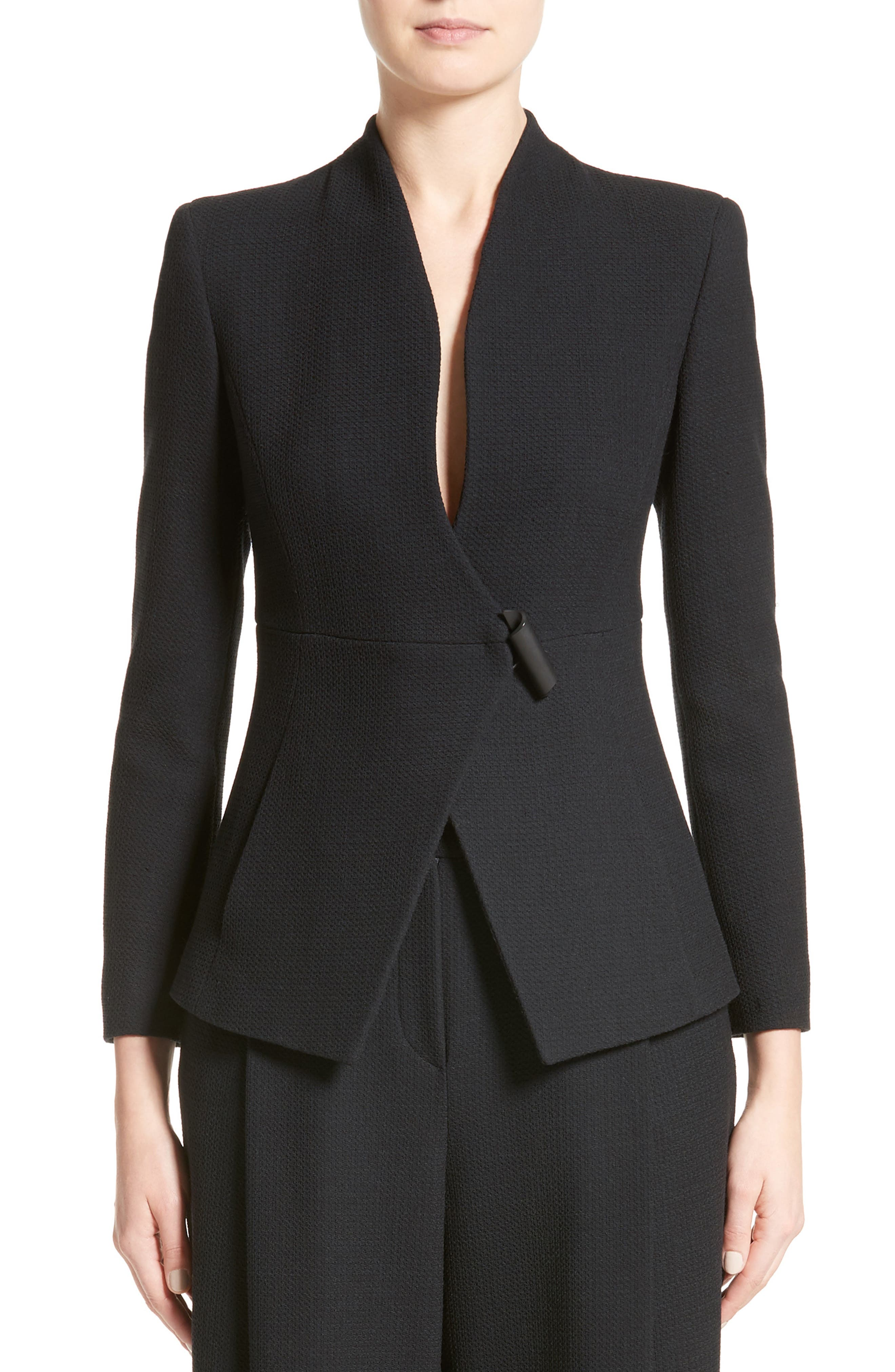 Textured Stretch Wool Jacket,                         Main,                         color, Black