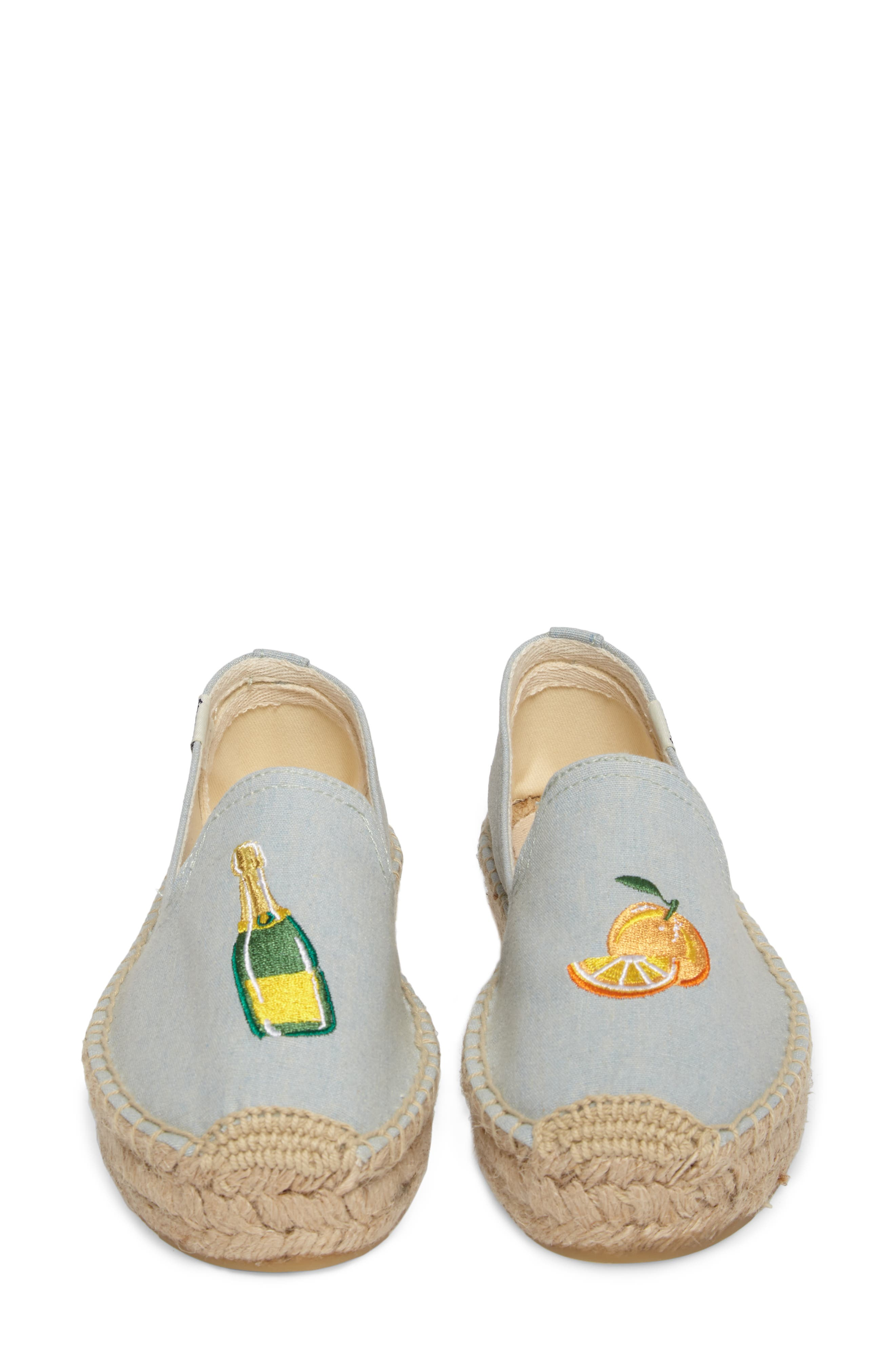 Mimosa Embroidered Platform Espadrille,                             Alternate thumbnail 5, color,                             Chambray