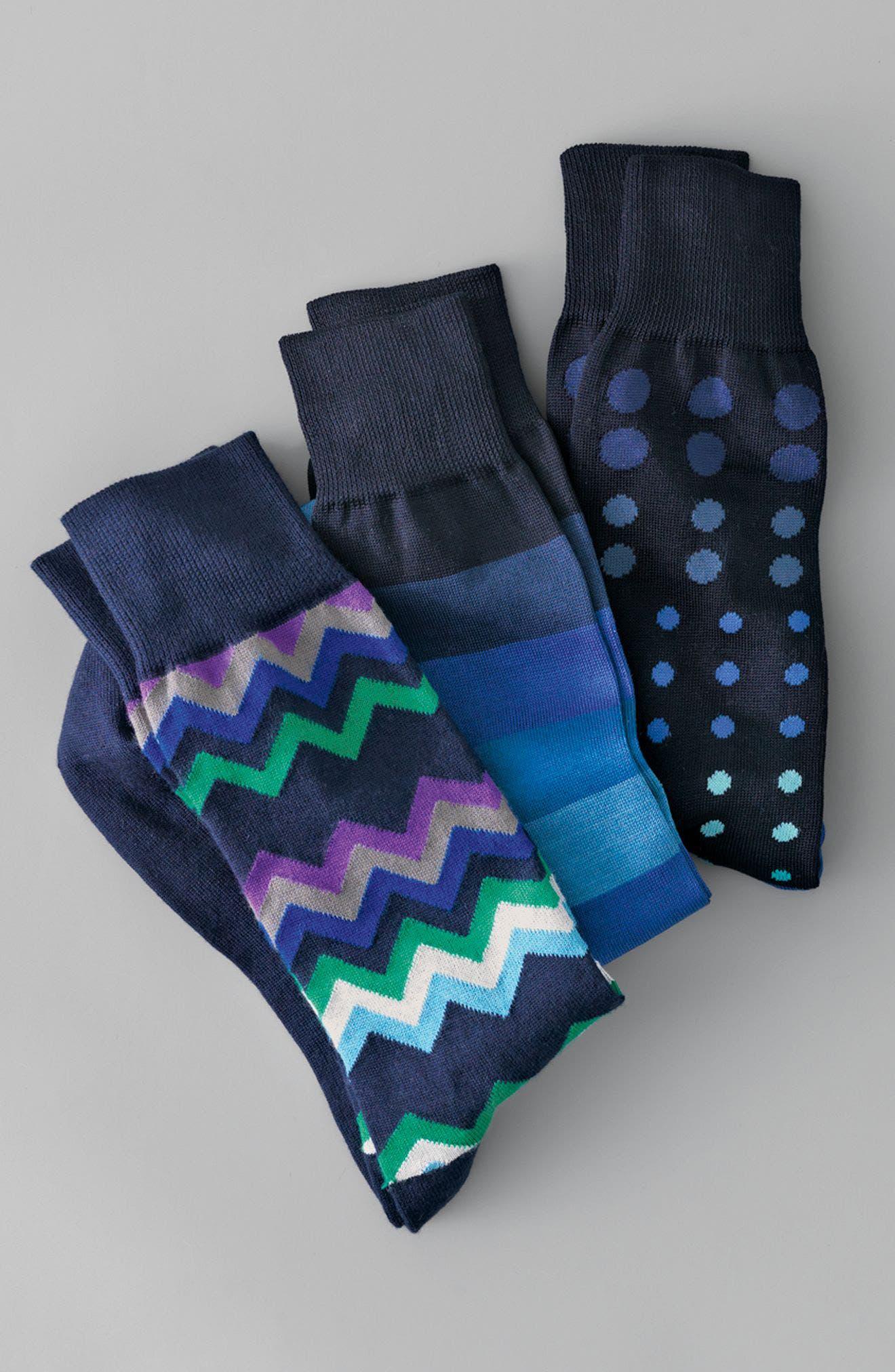 Fleet Chevron Socks,                             Alternate thumbnail 3, color,