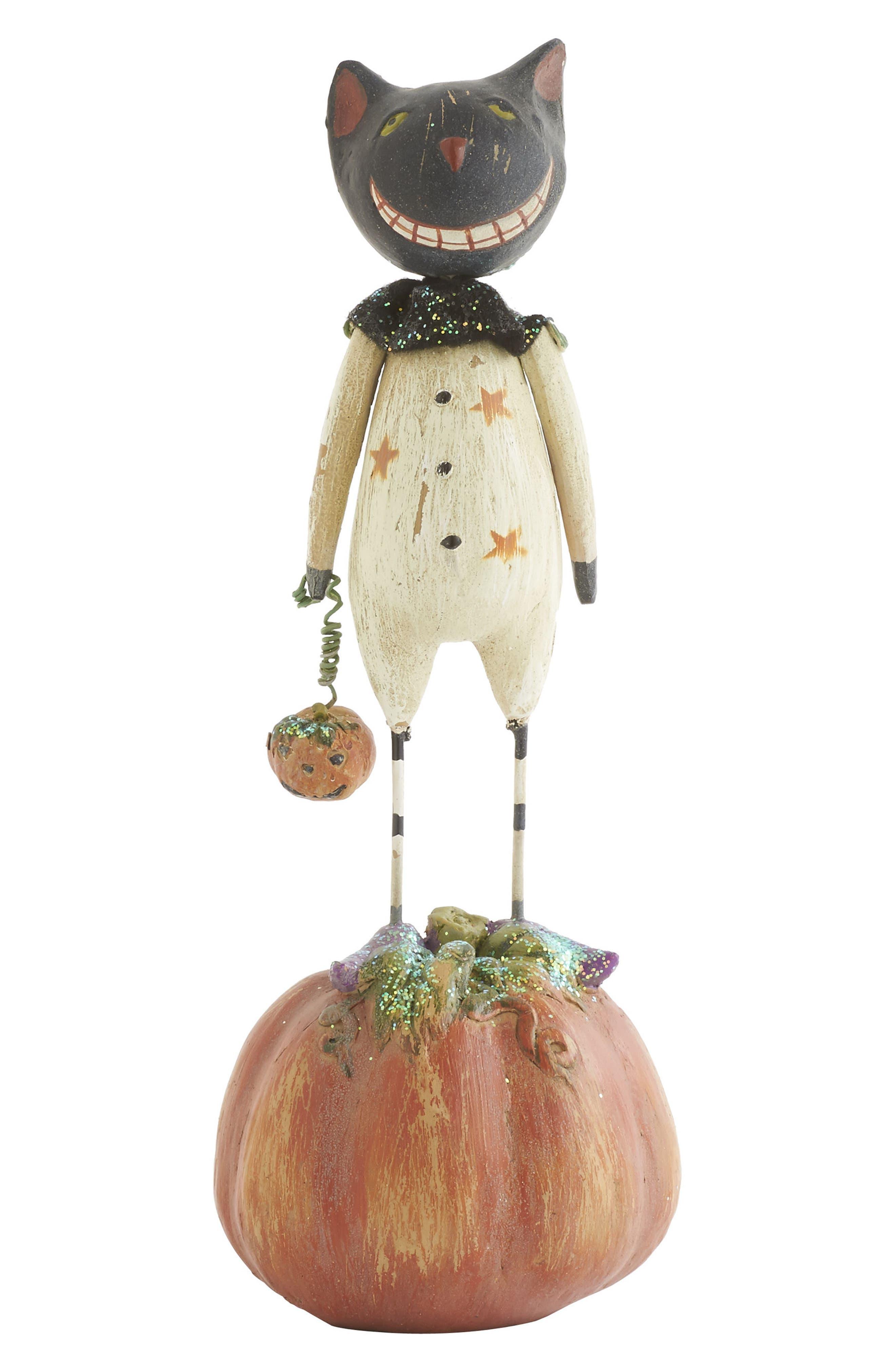 K & K Interiors Cat & Pumpkin Statue