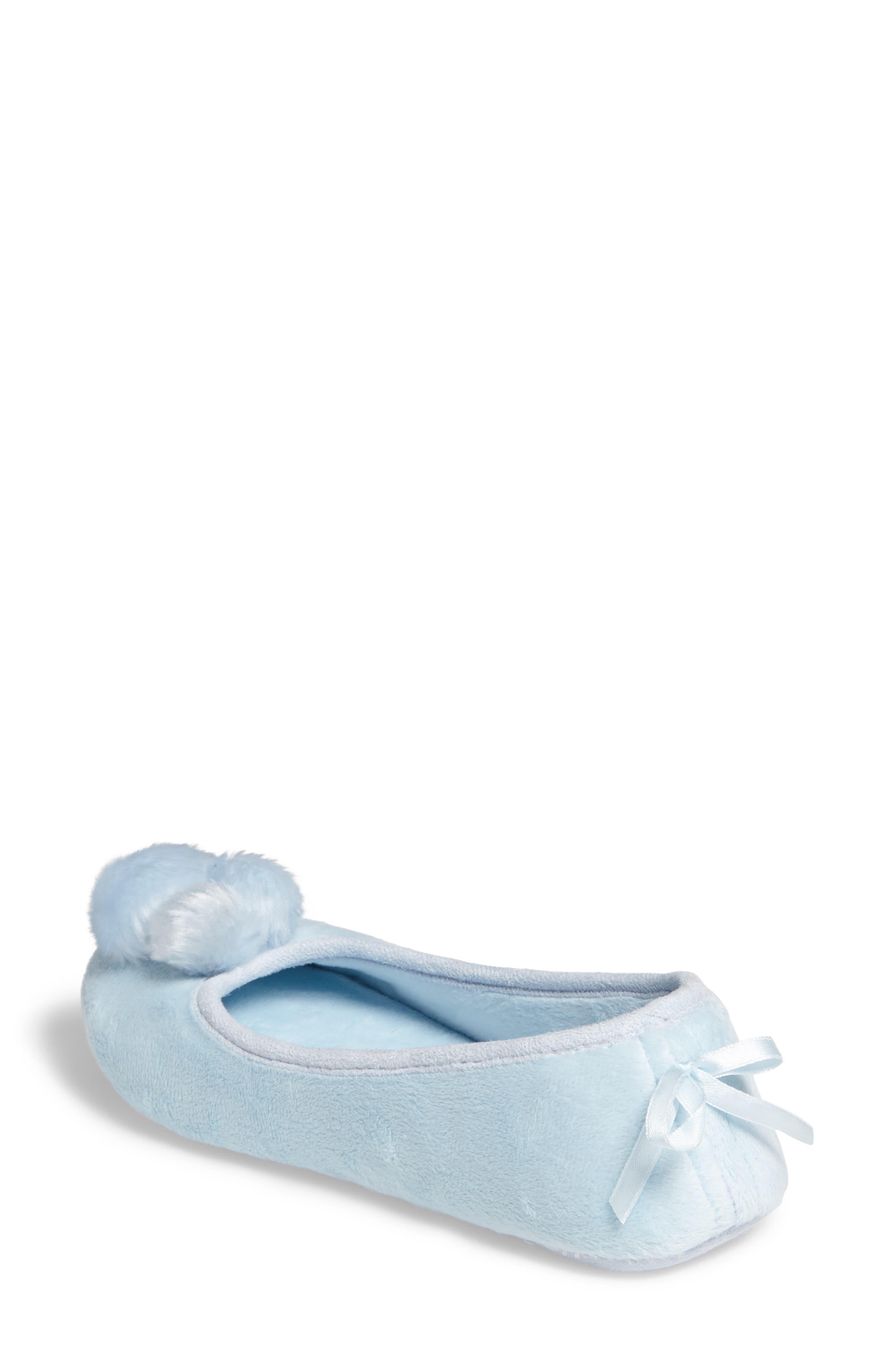 Plush Pompom Slipper,                             Alternate thumbnail 2, color,                             Blue