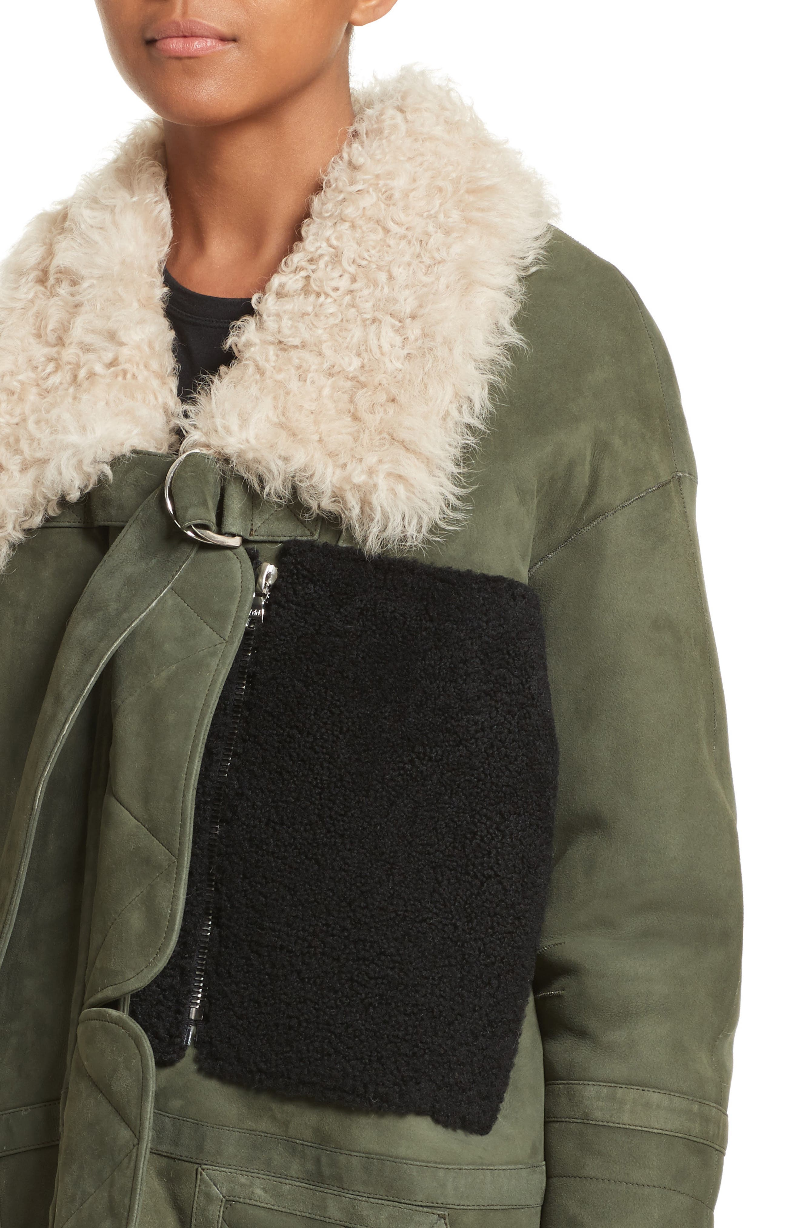 Ines Suede & Genuine Shearling Coat,                             Alternate thumbnail 4, color,                             Olive