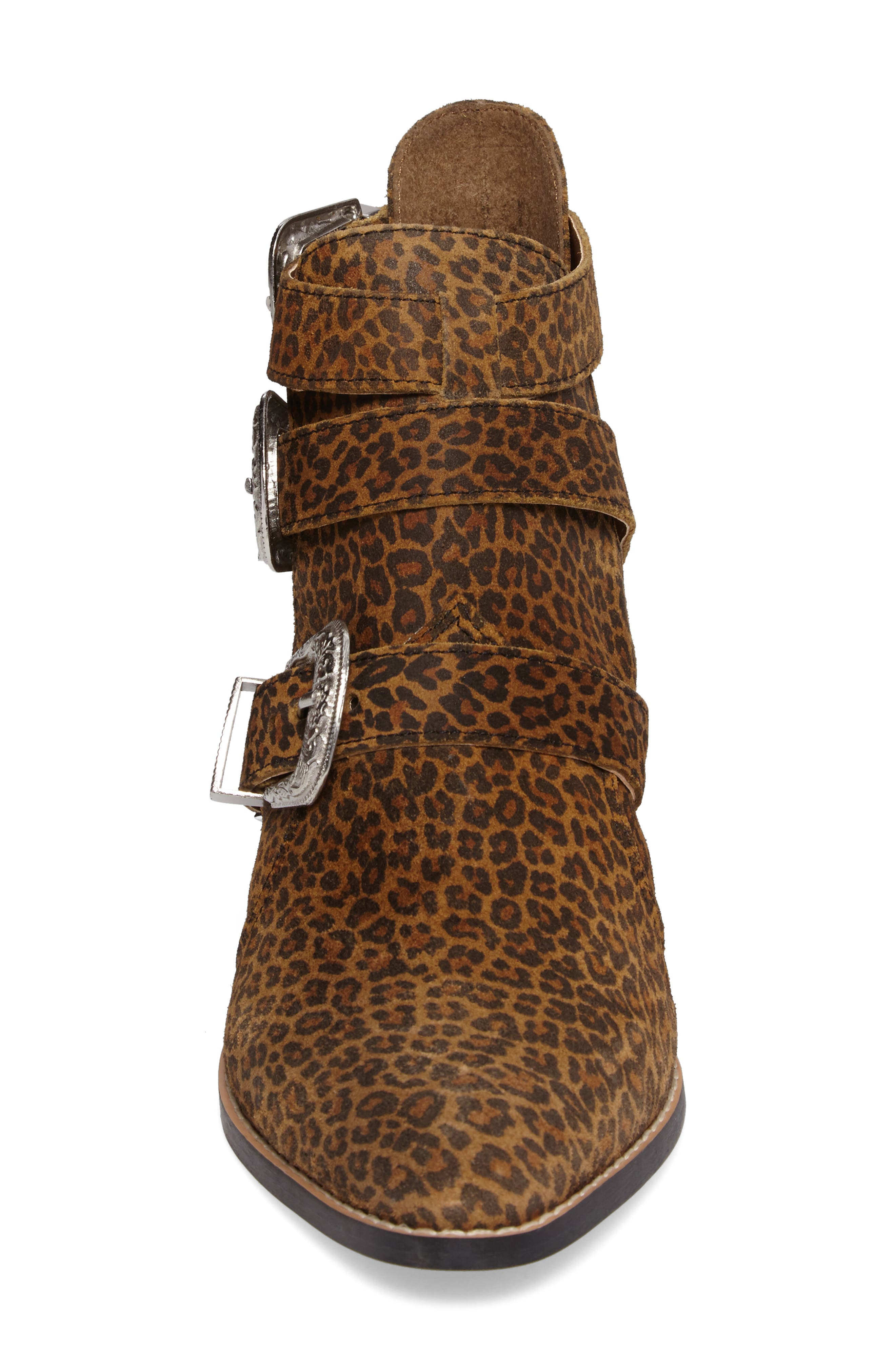 Marmalade Leopard Print Buckle Bootie,                             Alternate thumbnail 4, color,                             Leopard
