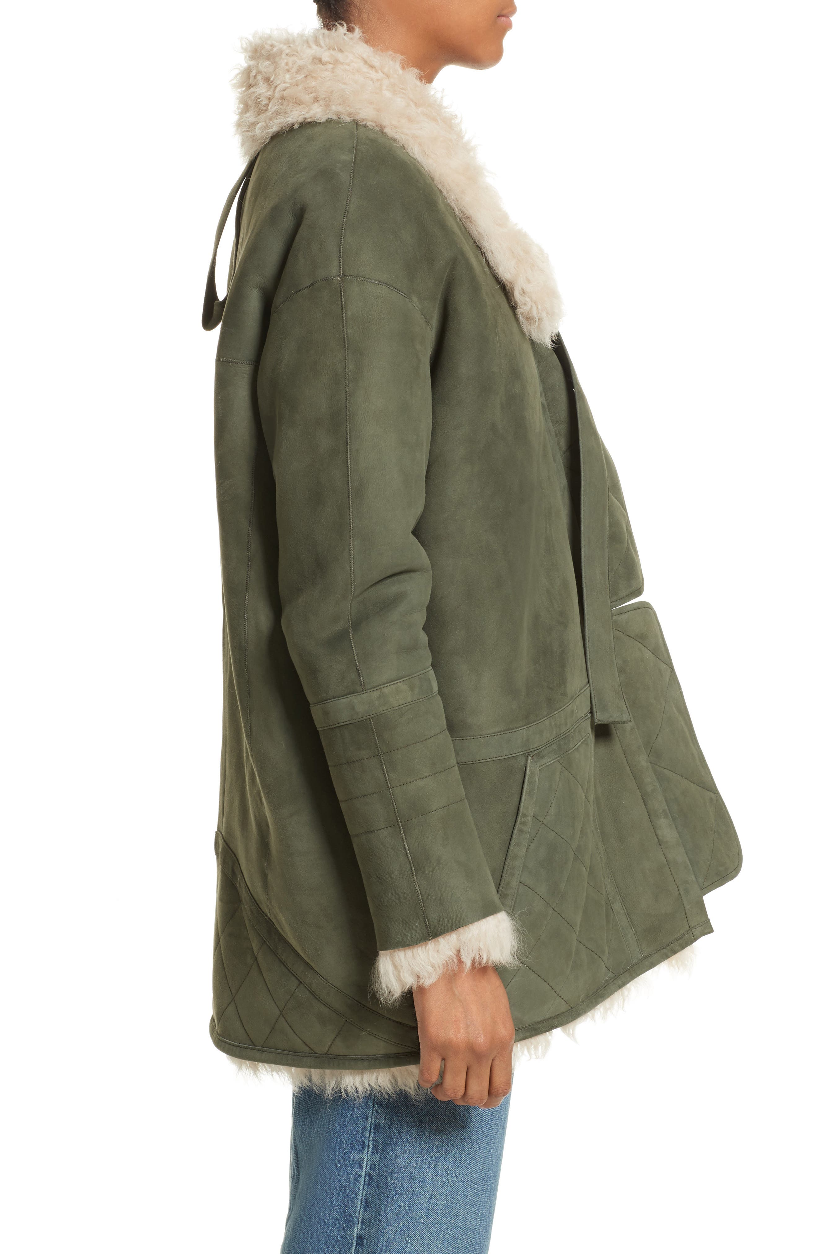 Ines Suede & Genuine Shearling Coat,                             Alternate thumbnail 3, color,                             Olive