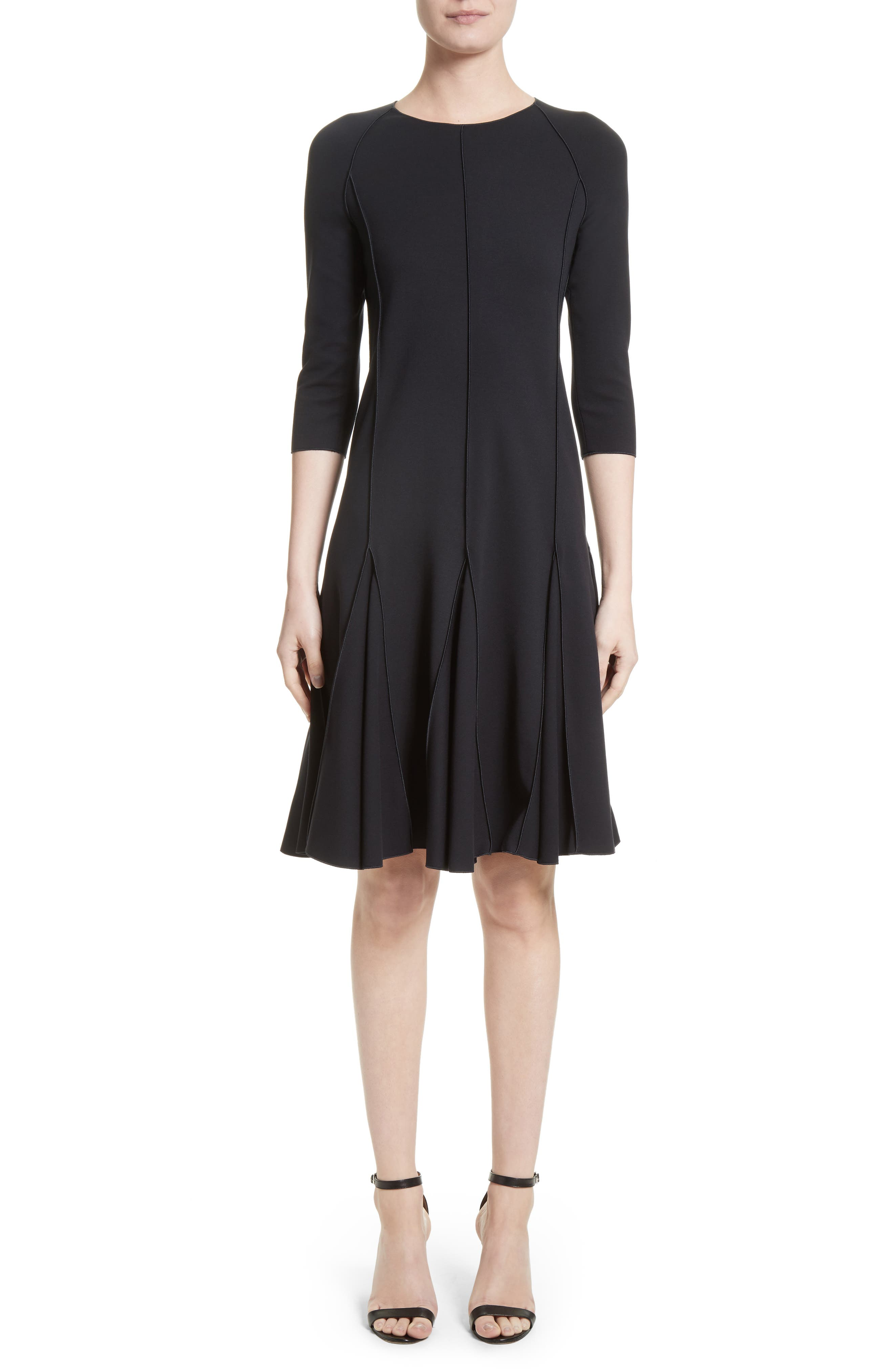 Seamed Jersey Fit & Flare Dress,                         Main,                         color, Navy