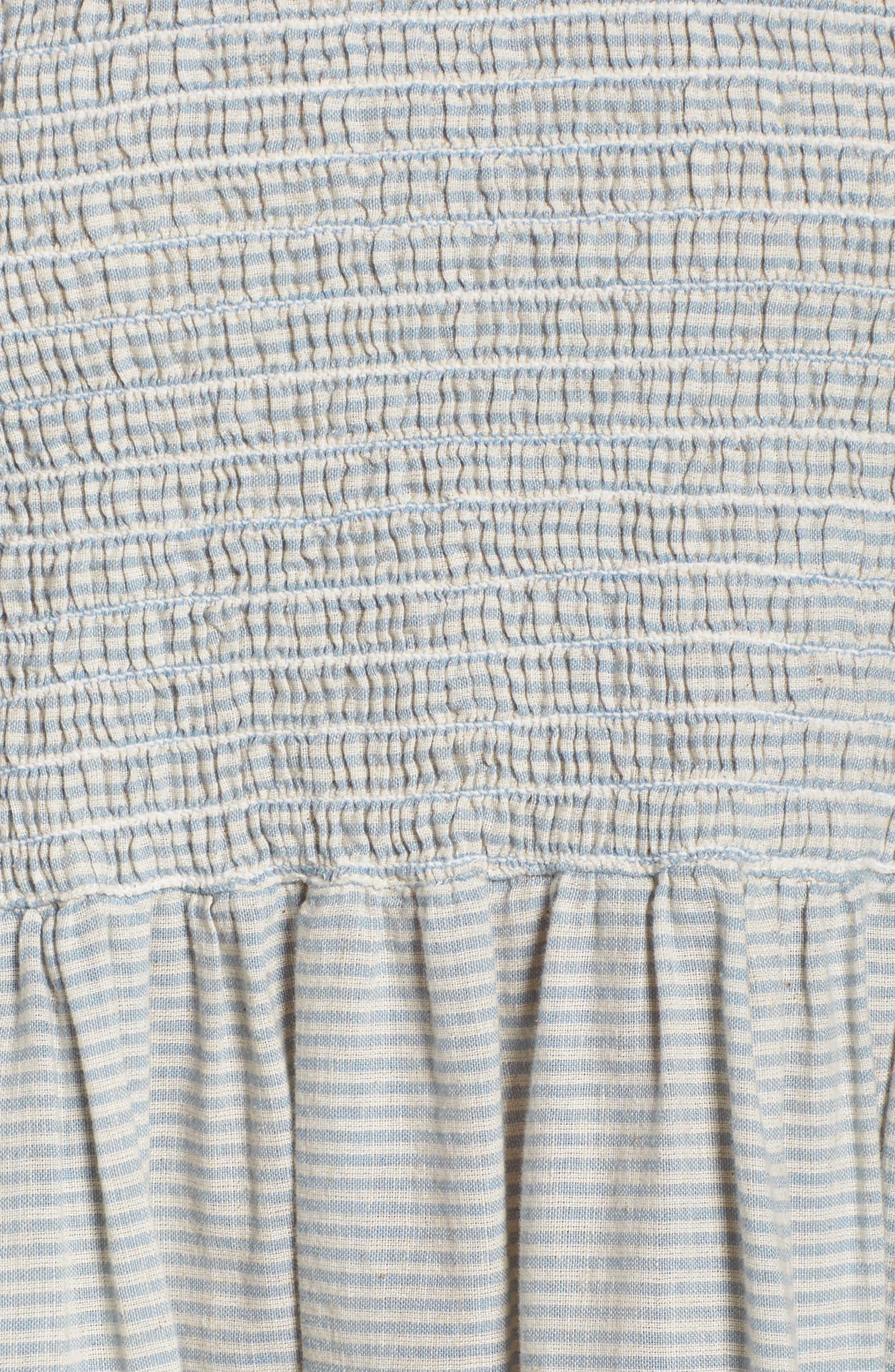 Serge Stripe Fit & Flare Dress,                             Alternate thumbnail 5, color,                             Indigo Wash