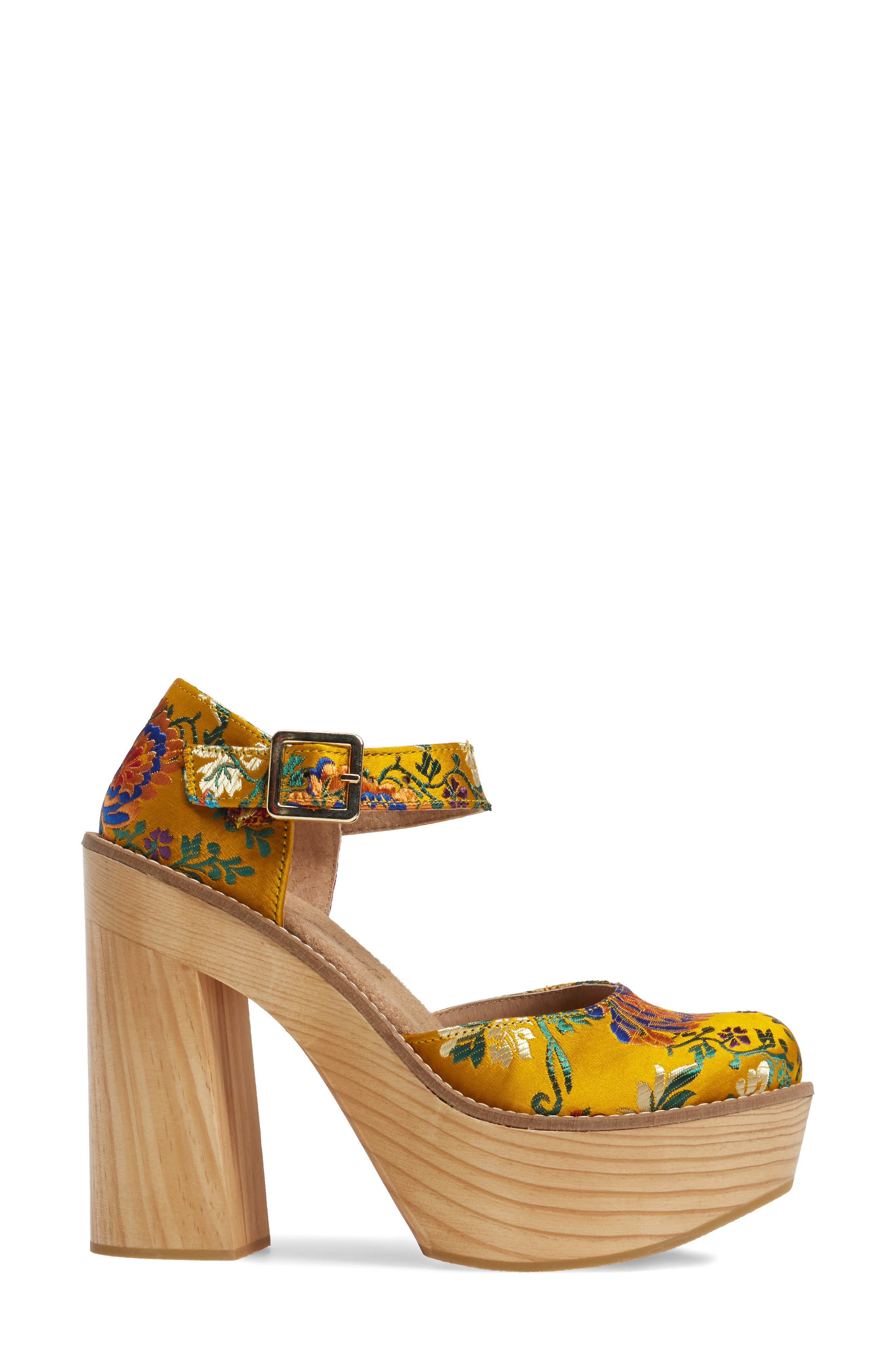 Starlet Embroidered Platform Pump,                             Alternate thumbnail 3, color,                             Yellow