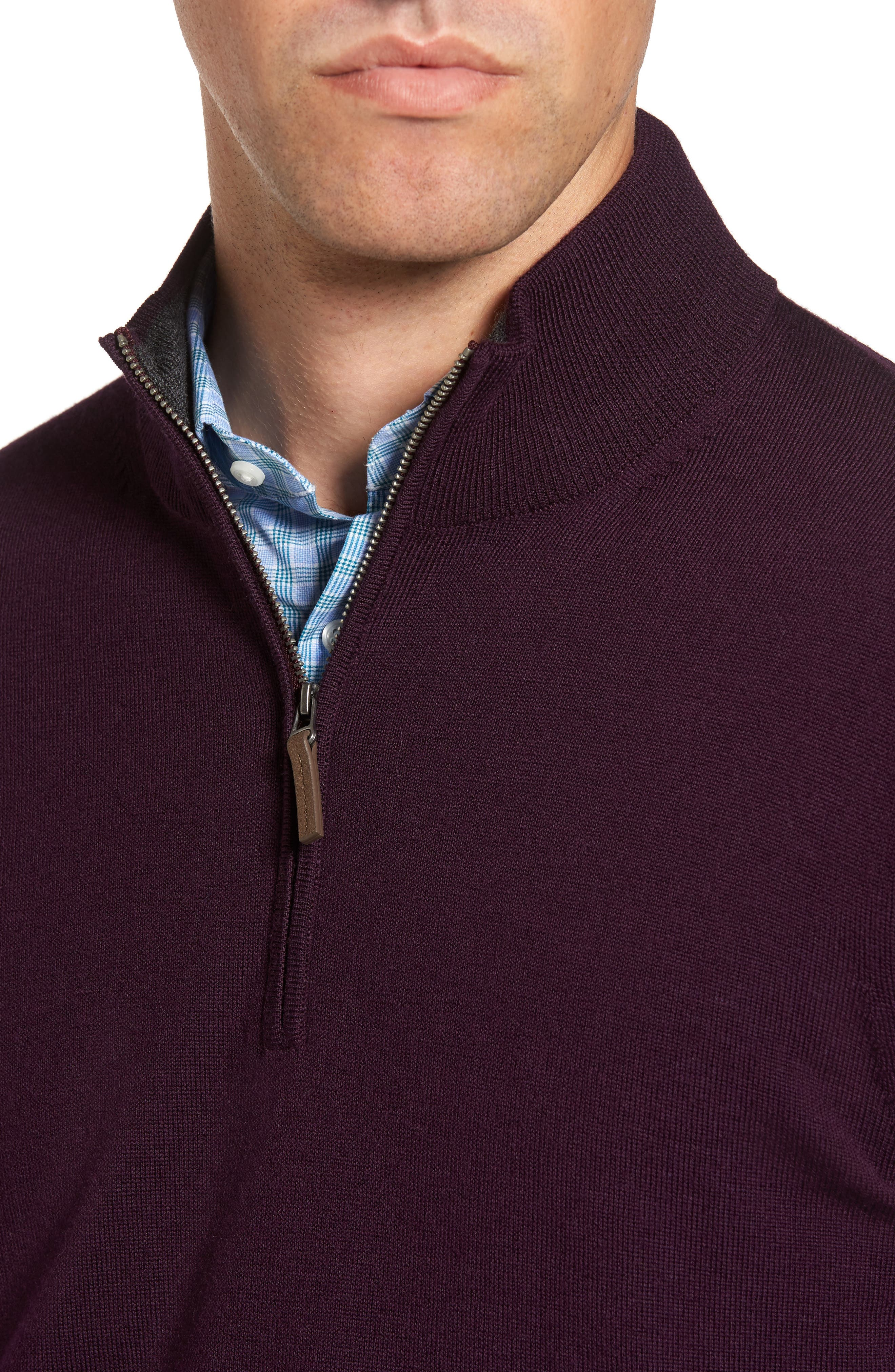 Quarter Zip Wool Pullover,                             Alternate thumbnail 4, color,                             Purple Plum