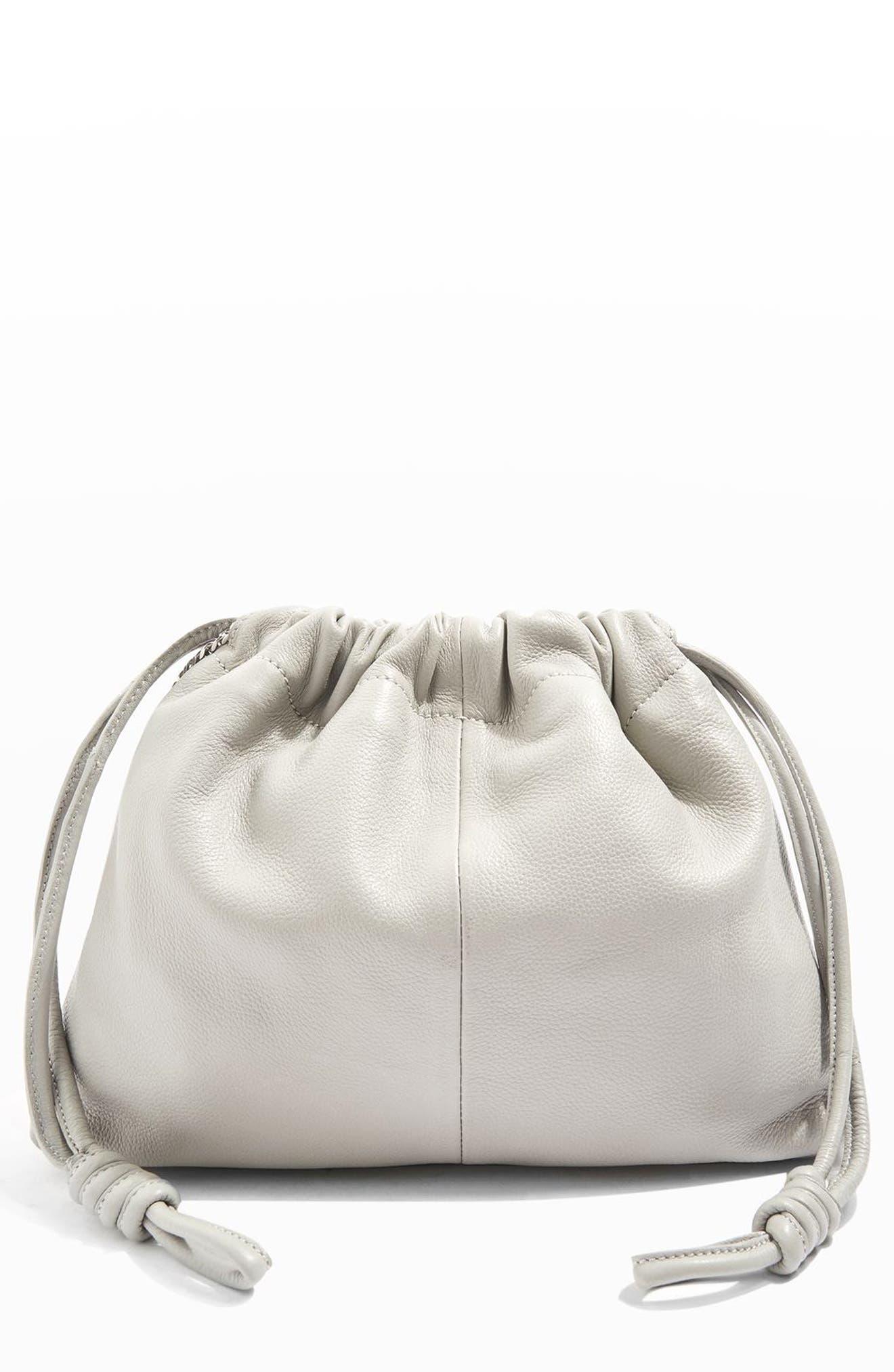 Alternate Image 1 Selected - Topshop Premium Leather Drawstring Crossbody Bag