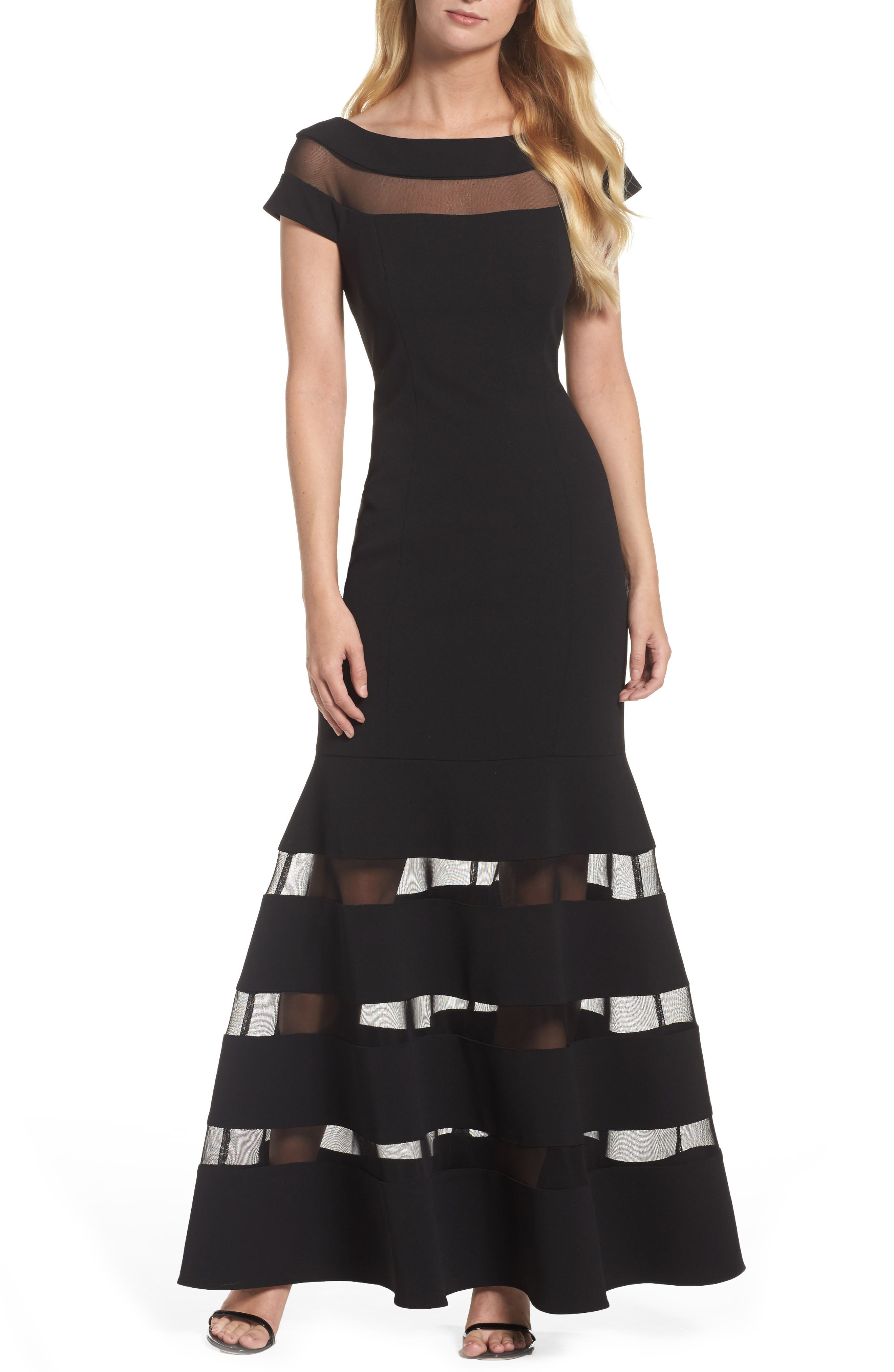 Illusion Stripe Trumpet Gown,                         Main,                         color, Black