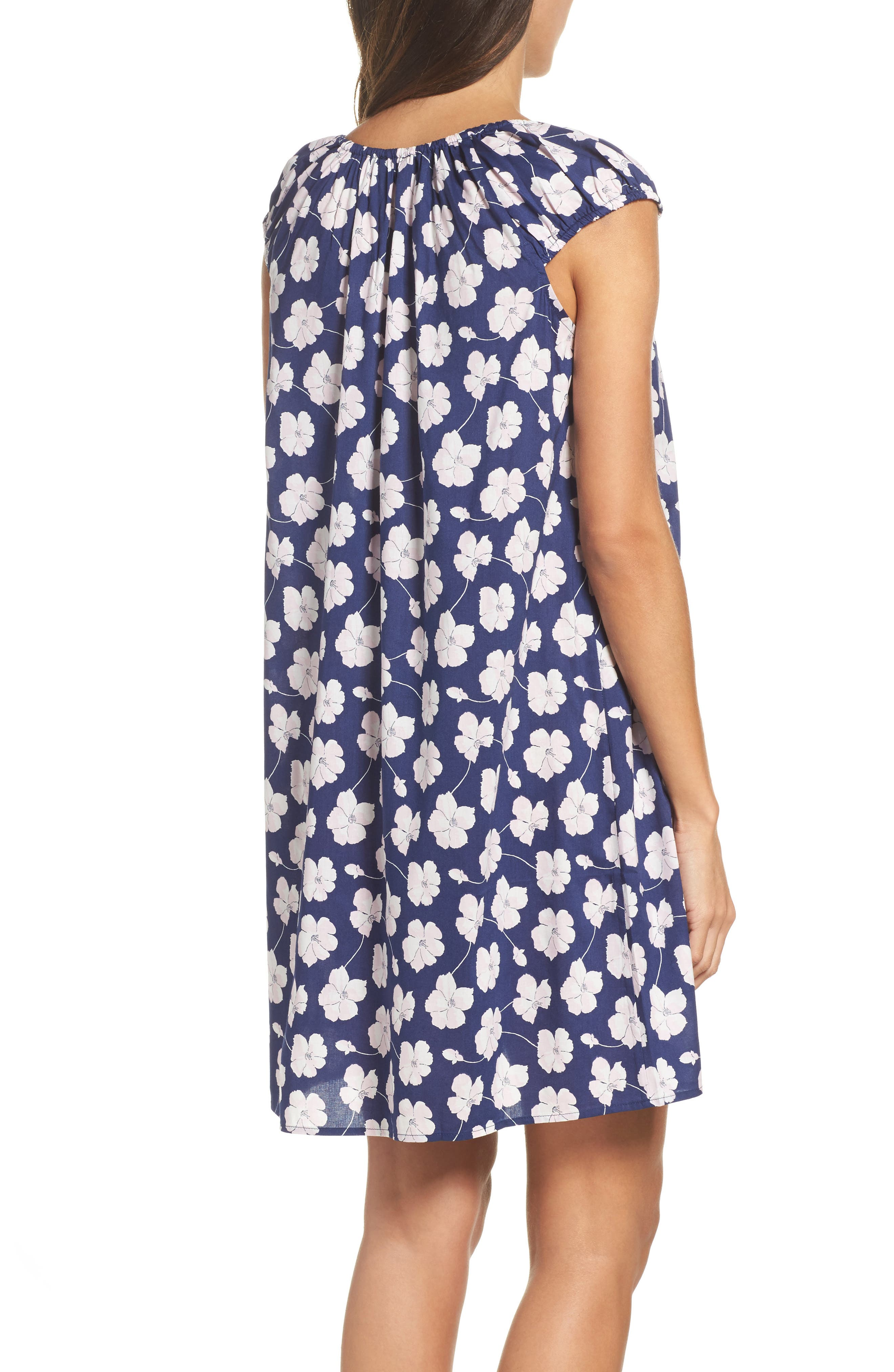 Short Nightgown,                             Alternate thumbnail 2, color,                             Navy Ground Floral