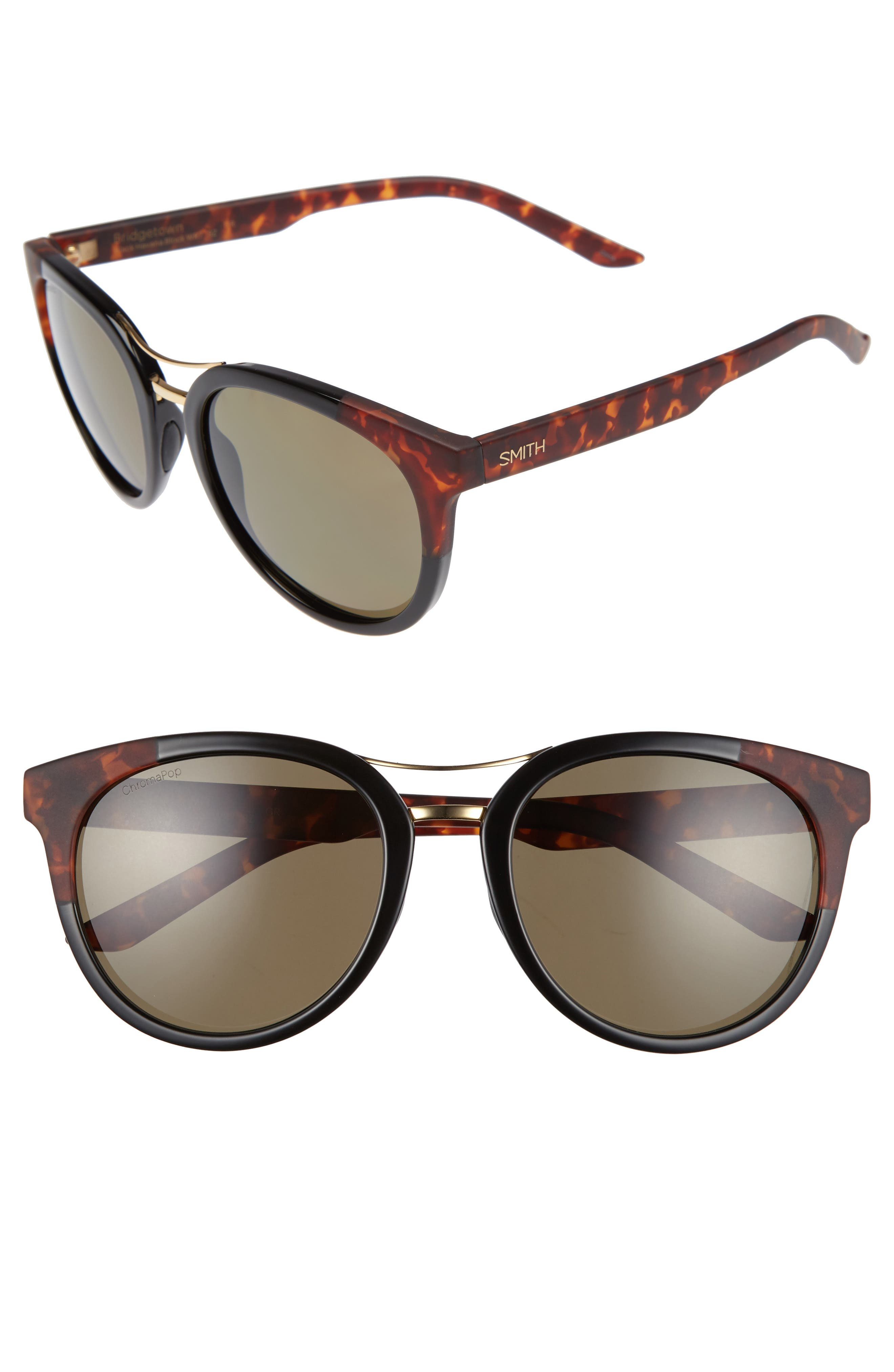 Bridgetown ChromaPop 54mm Polarized Sunglasses,                             Main thumbnail 1, color,                             Black/ Havana Block
