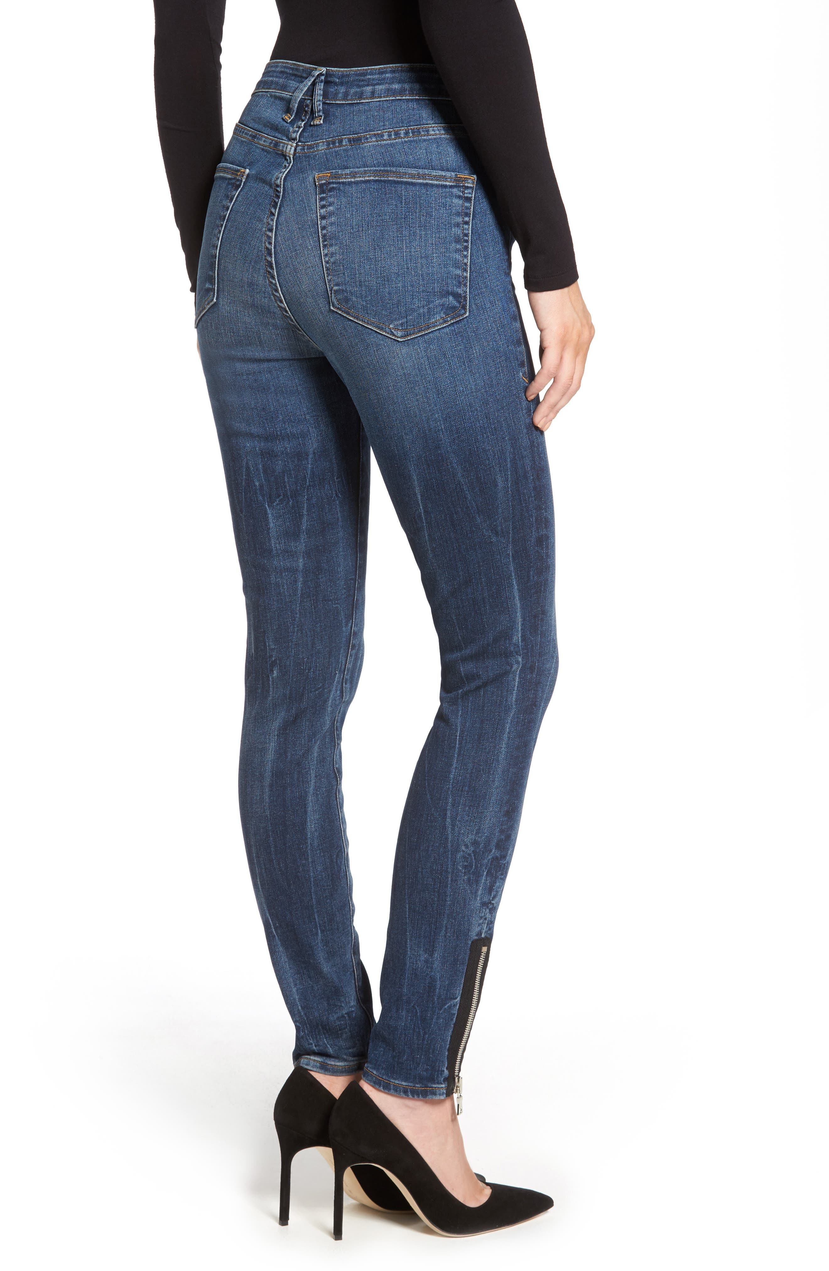 Alternate Image 2  - Good American Good Waist High Rise Ankle Jeans (Blue 076) (Regular & Plus Size)