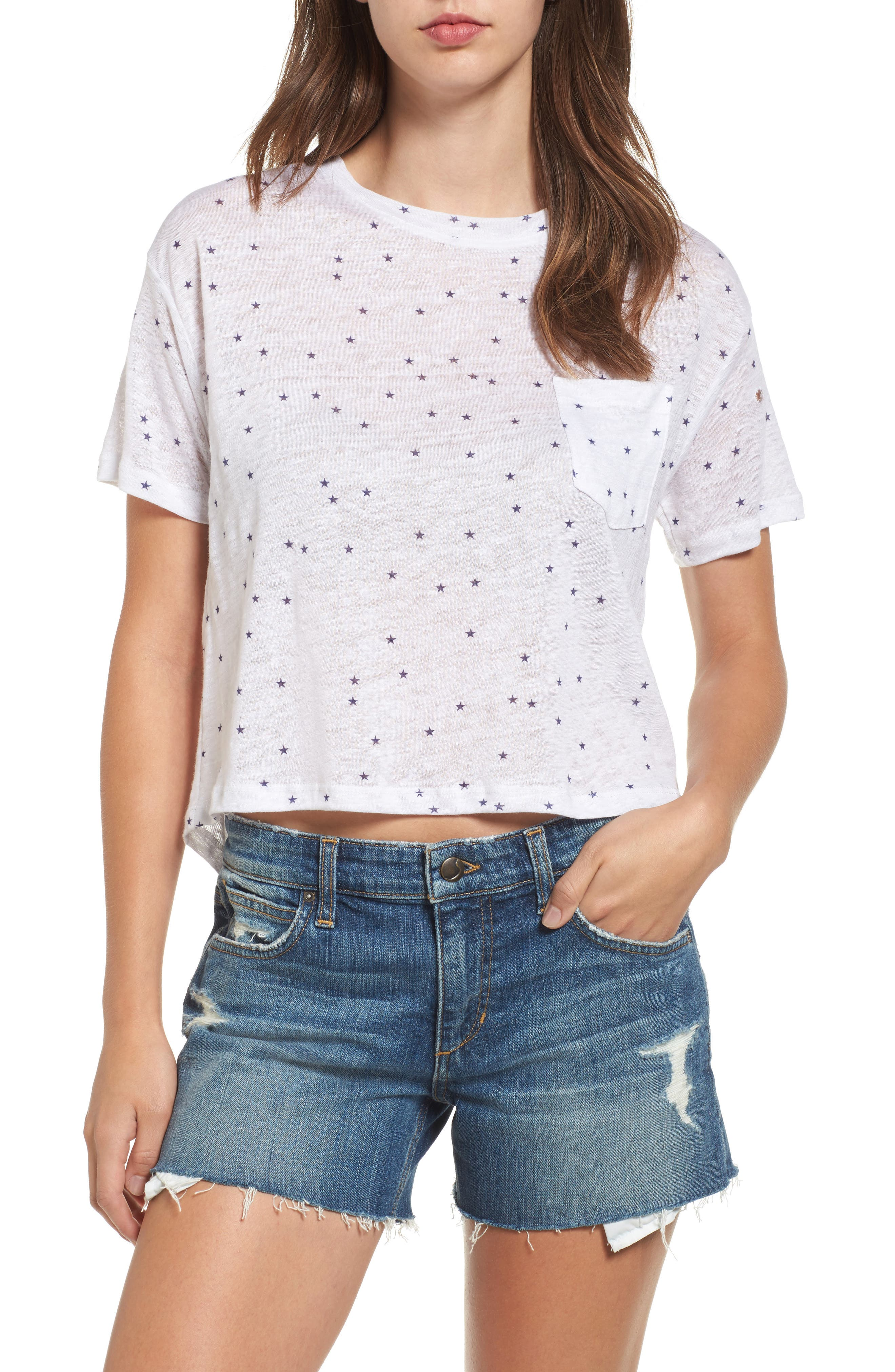 Main Image - Rails Billie Crop Linen Blend Tee