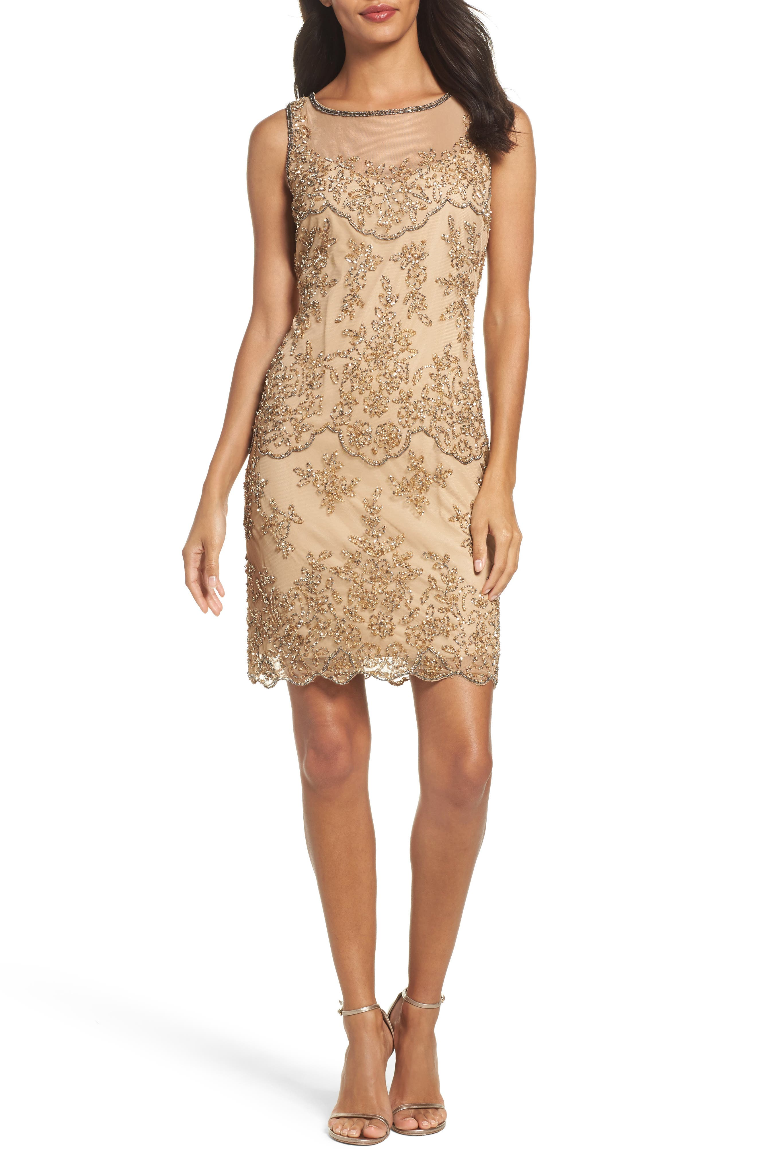 Embellished Dress,                         Main,                         color, Champagne