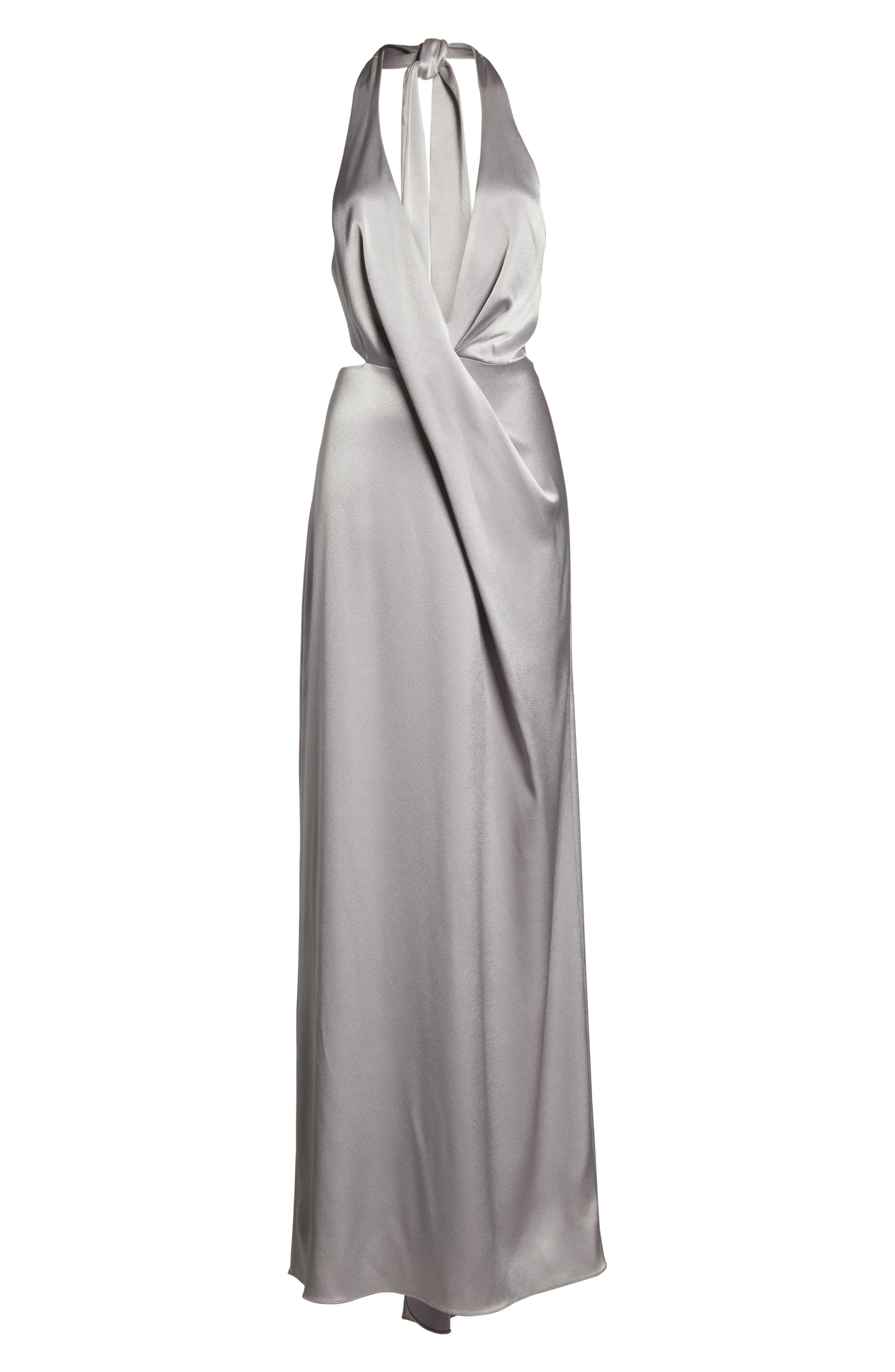 Alternate Image 6  - Halston Heritage V-Neck Draped Satin Gown