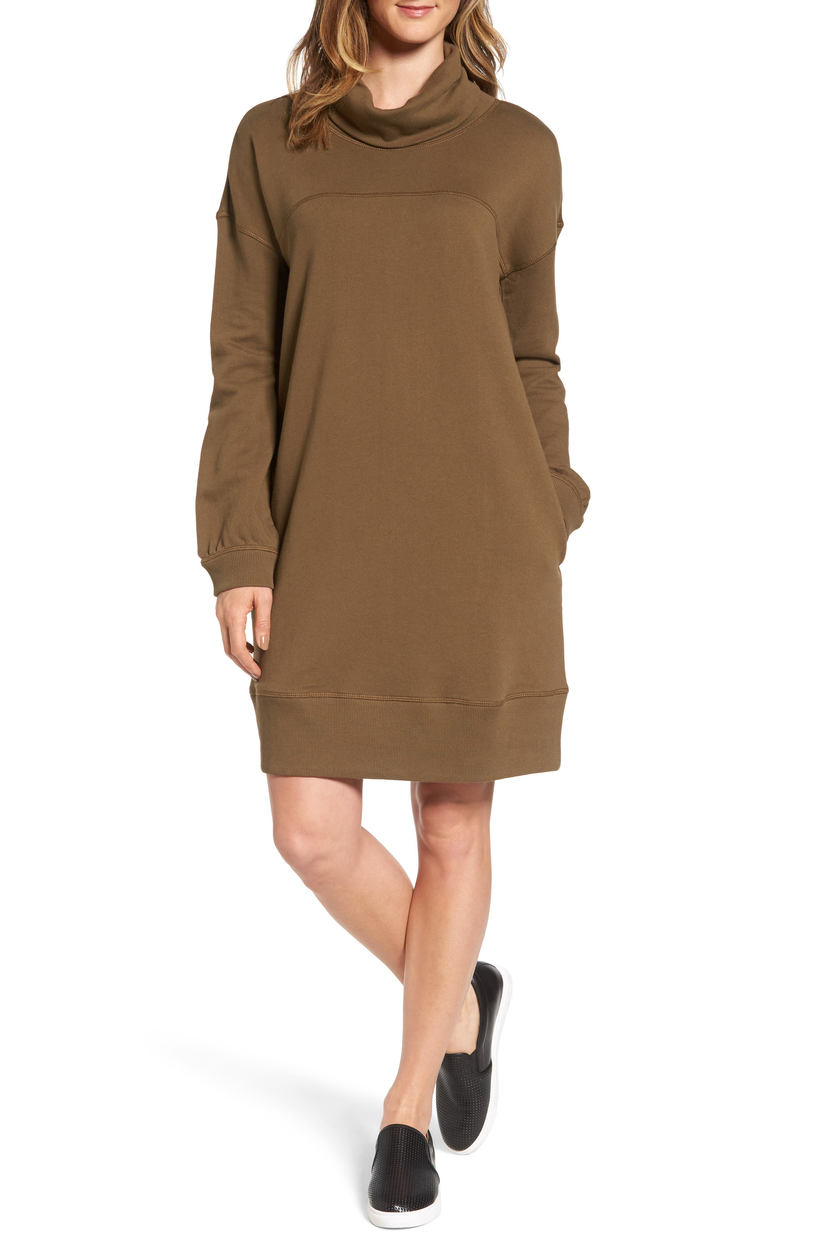 Caslon® Cowl Neck Knit Dress (Regular & Petite)