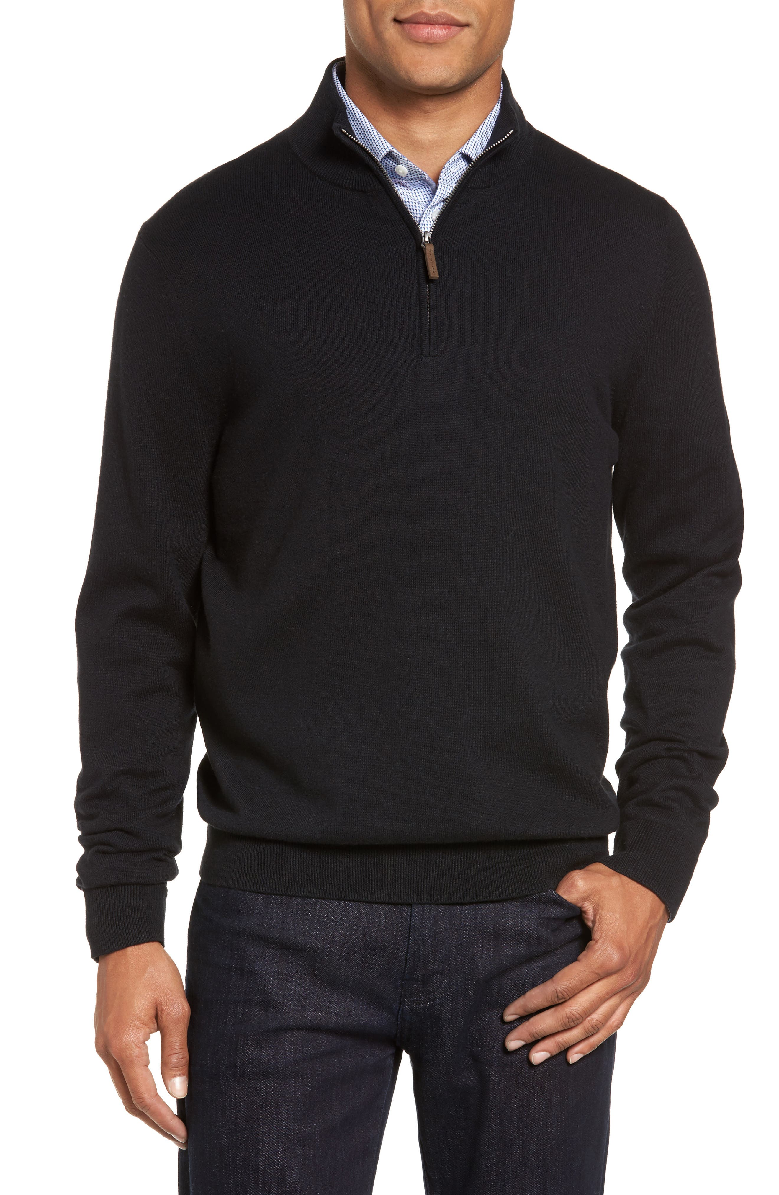 Half Zip Cotton & Cashmere Pullover,                             Main thumbnail 1, color,                             Black Caviar