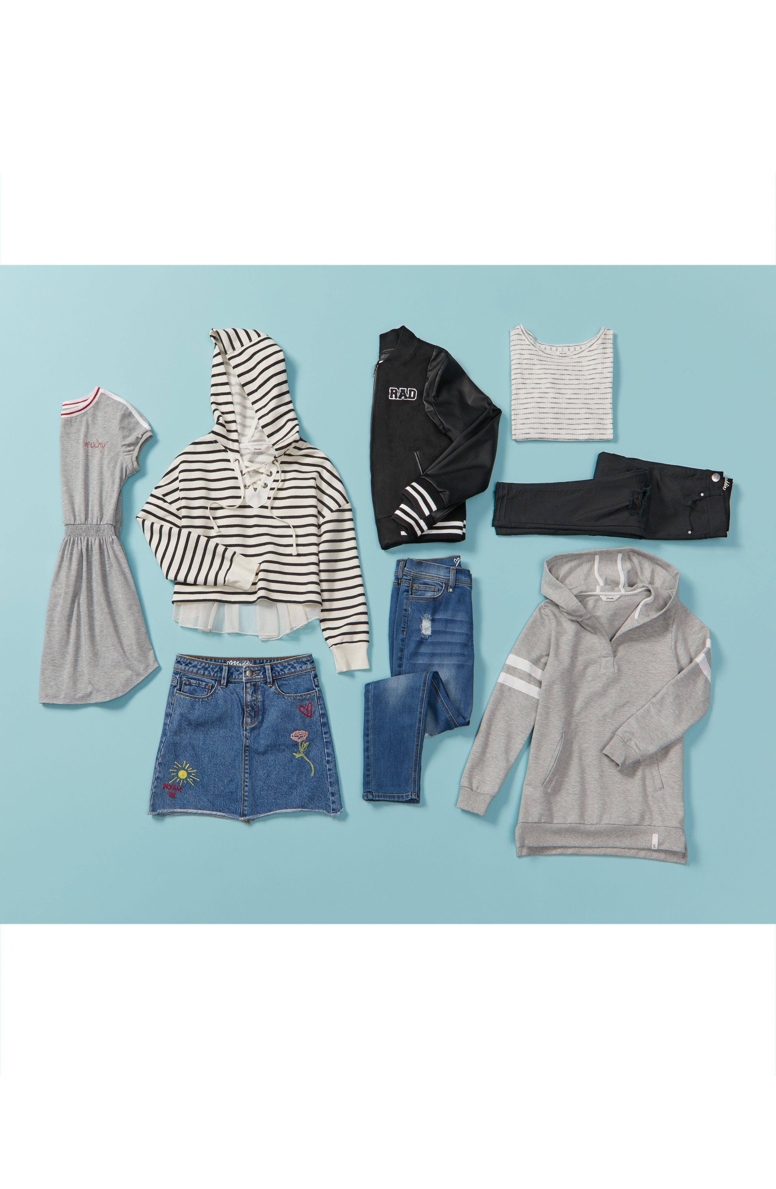 Stripe Crop Hooded Sweatshirt with Back Ruffle,                             Alternate thumbnail 3, color,