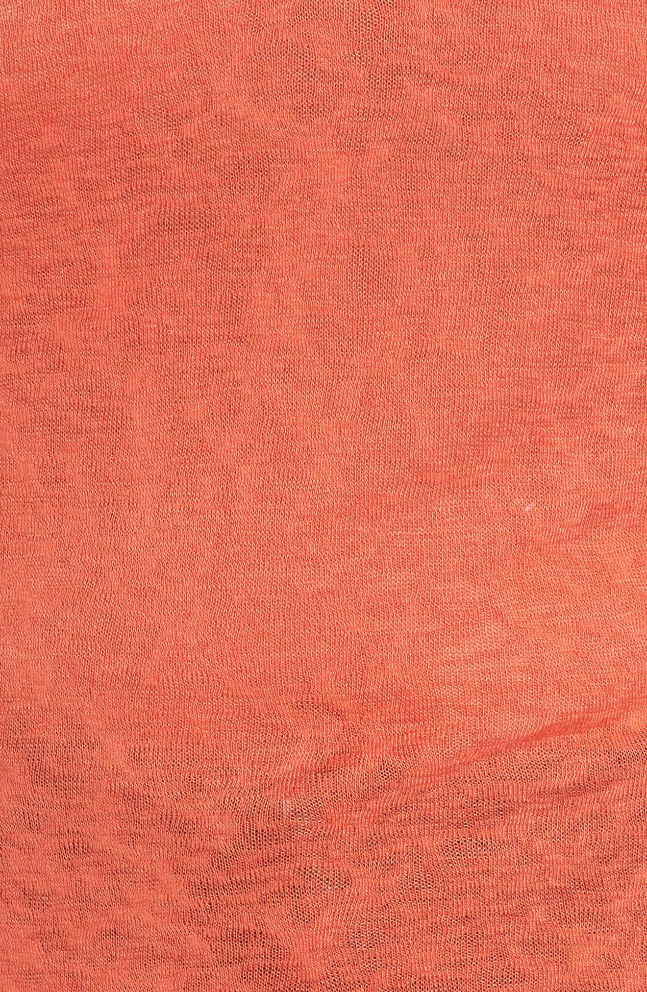 Tassel Trim Slub Knit Top,                             Alternate thumbnail 5, color,                             Orange