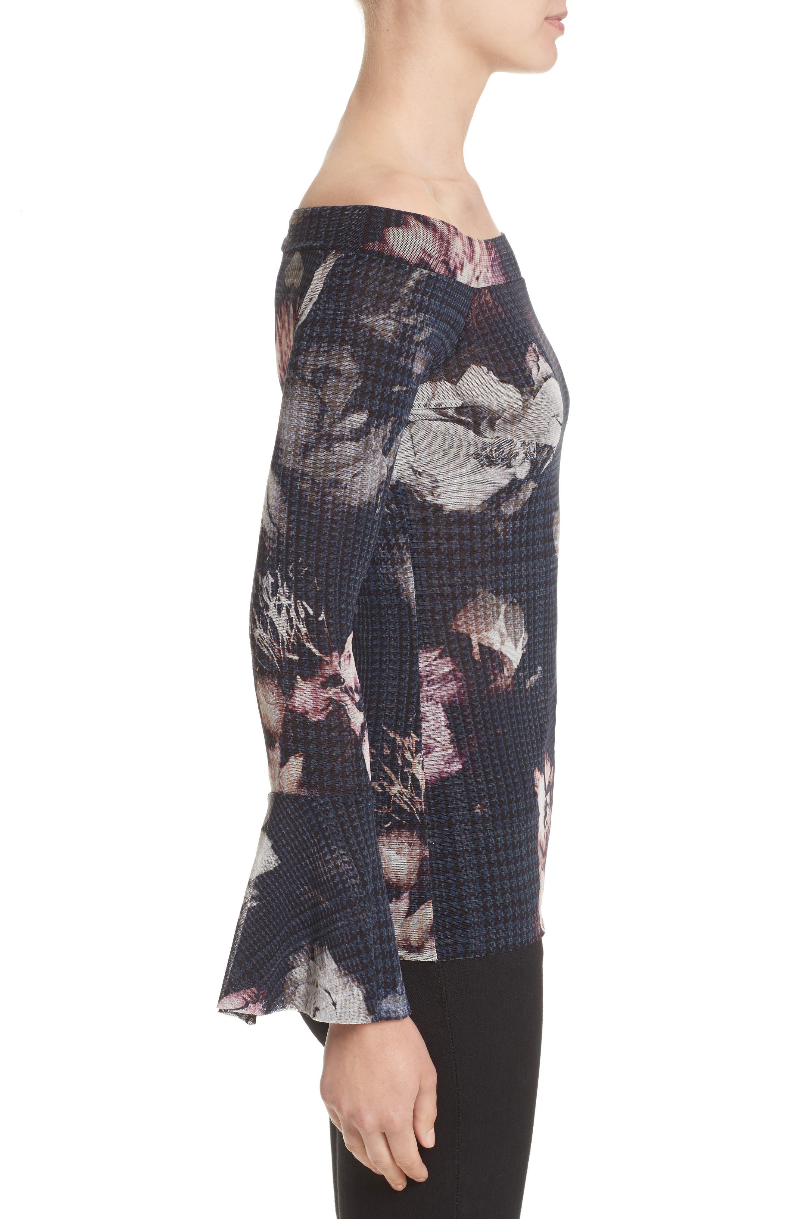 Alternate Image 5  - Fuzzi Floral Print Tulle Off the Shoulder Top