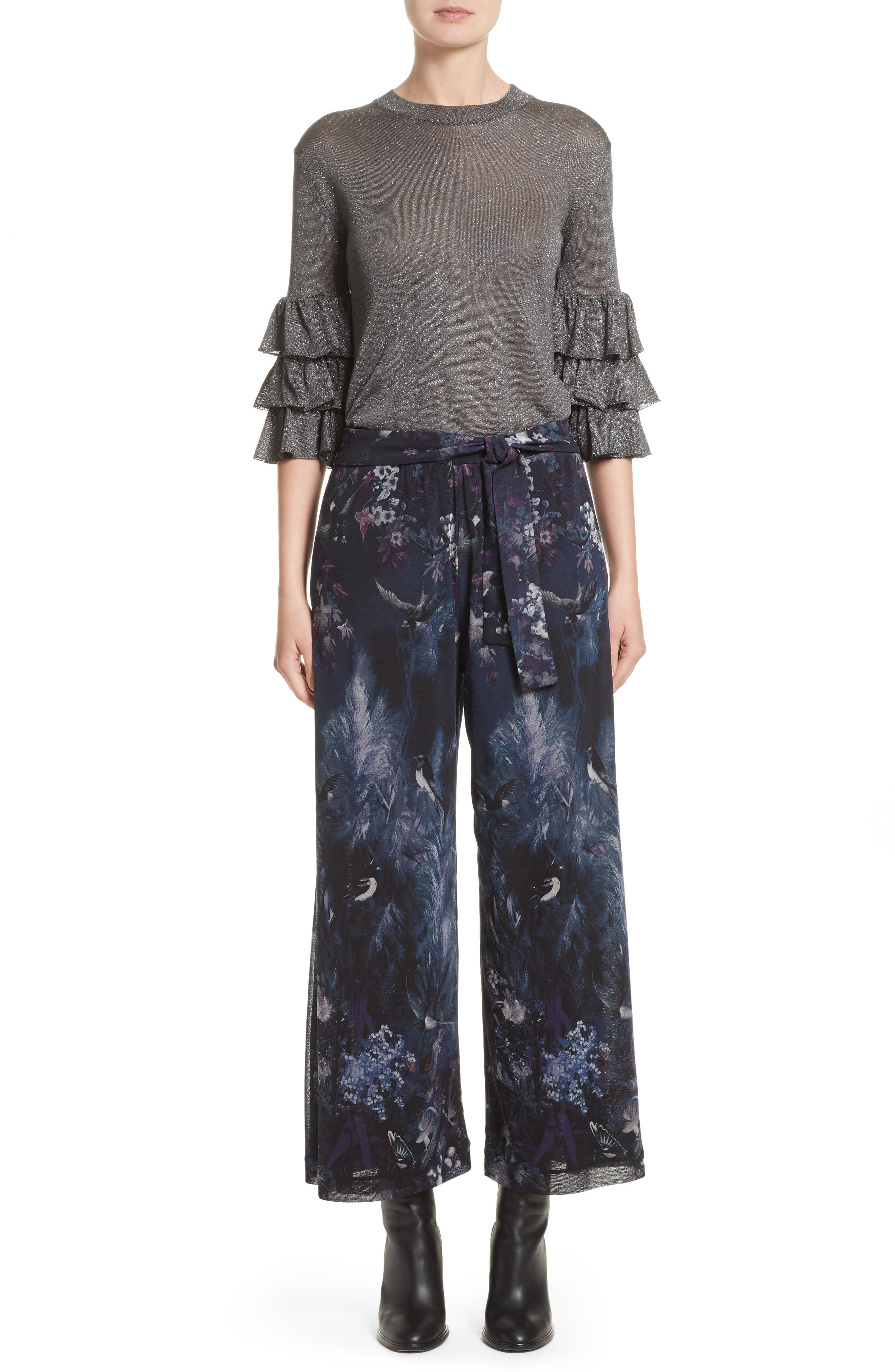 Alternate Image 7  - Fuzzi Floral Print Tulle Belted Karate Pants