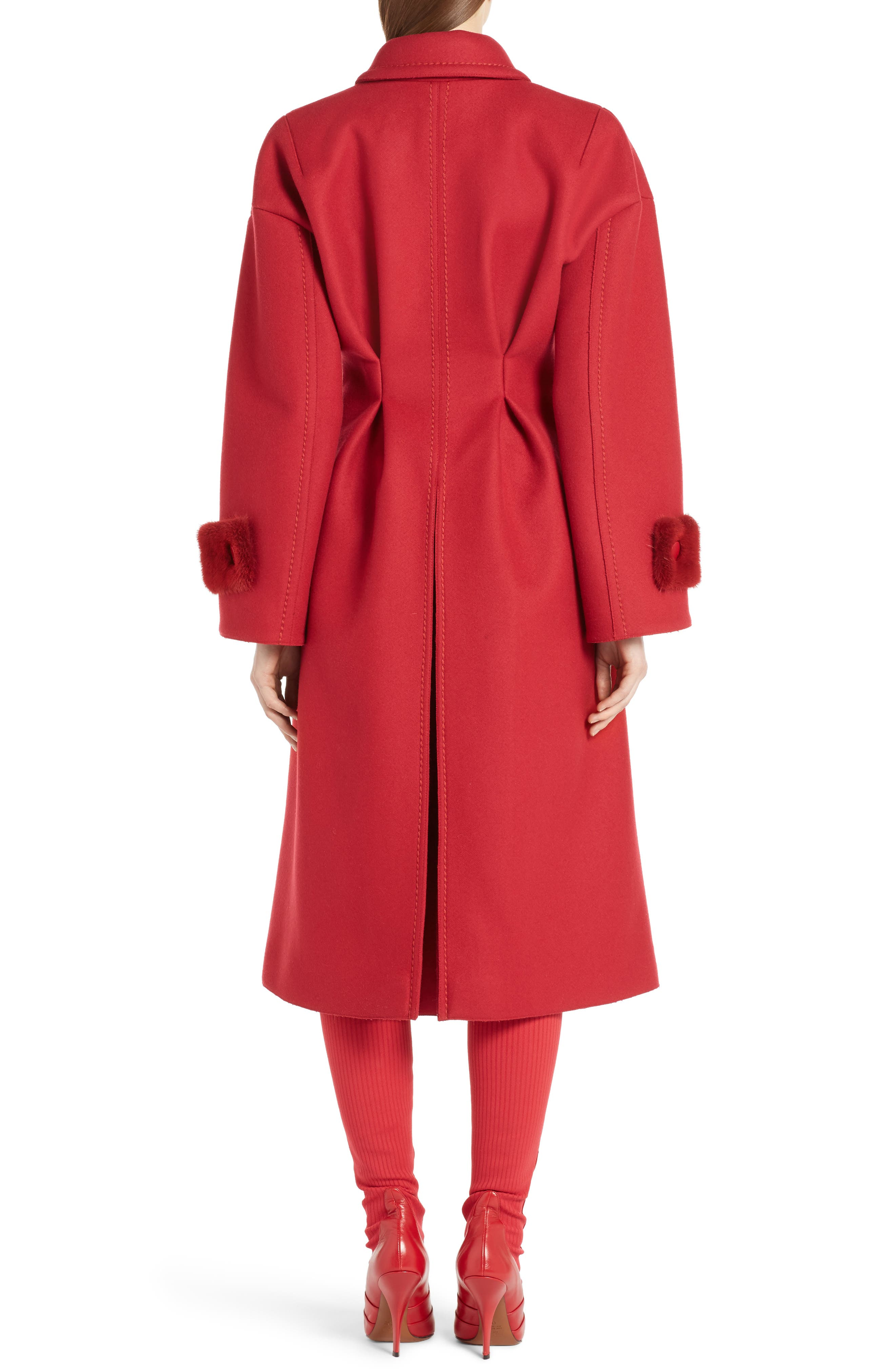 Wool & Cashmere Coat with Genuine Mink Cuffs,                             Alternate thumbnail 2, color,                             Red