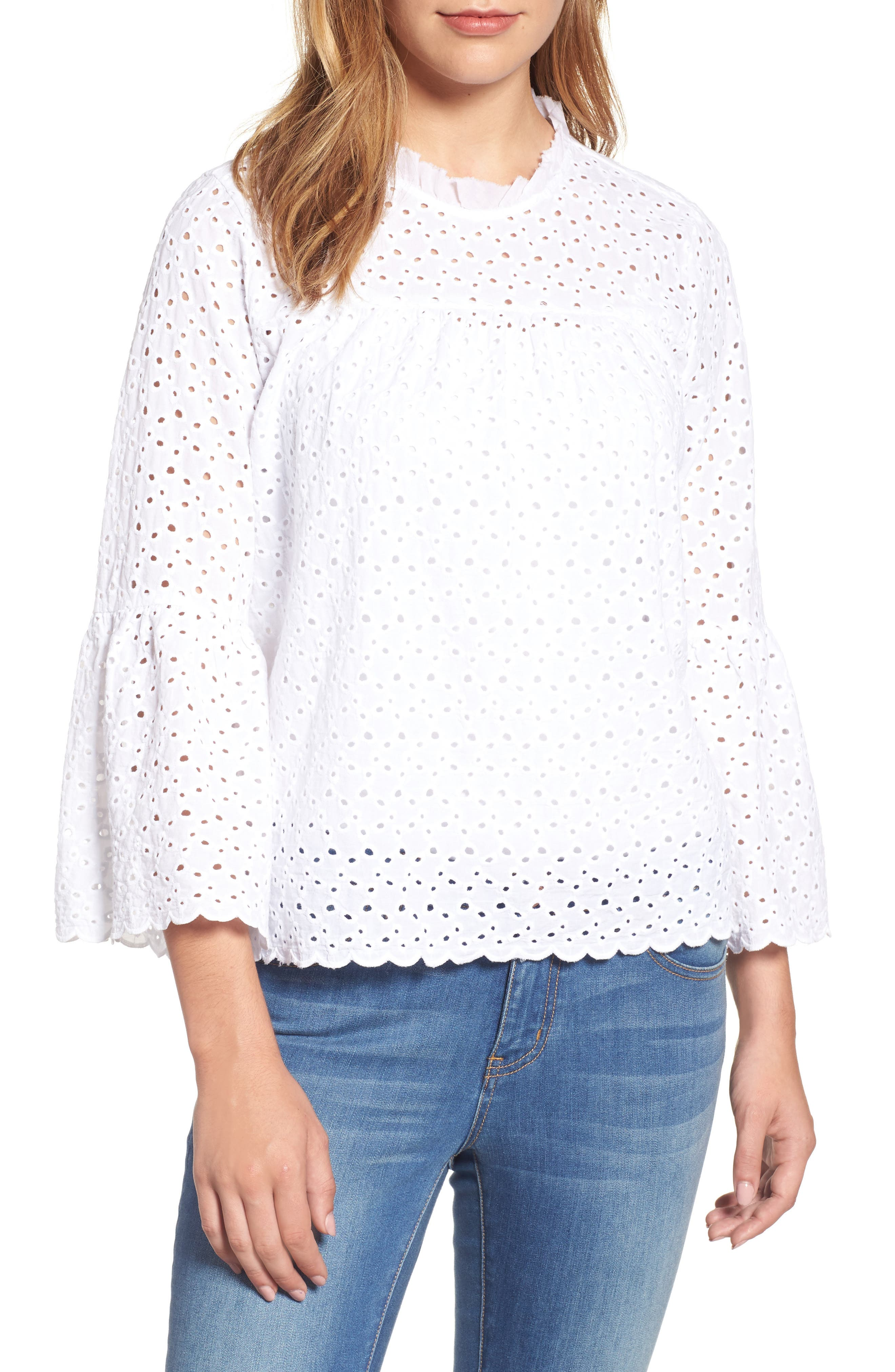 Velvet by Graham & Spencer Bell Sleeve Eyelet Blouse
