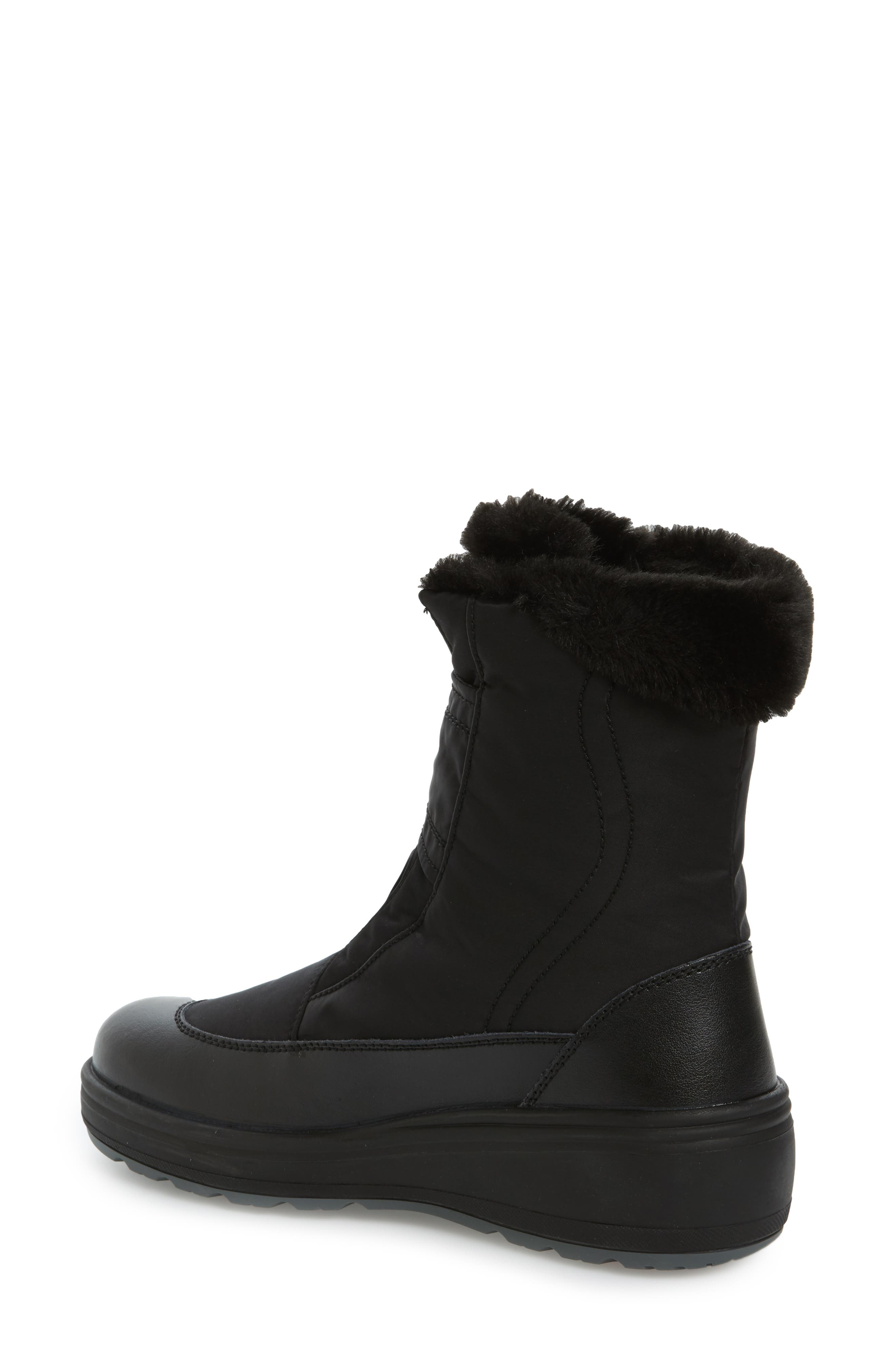 Samara Waterproof Insulated Boot with Faux Fur Lining,                             Alternate thumbnail 2, color,                             Black Leather