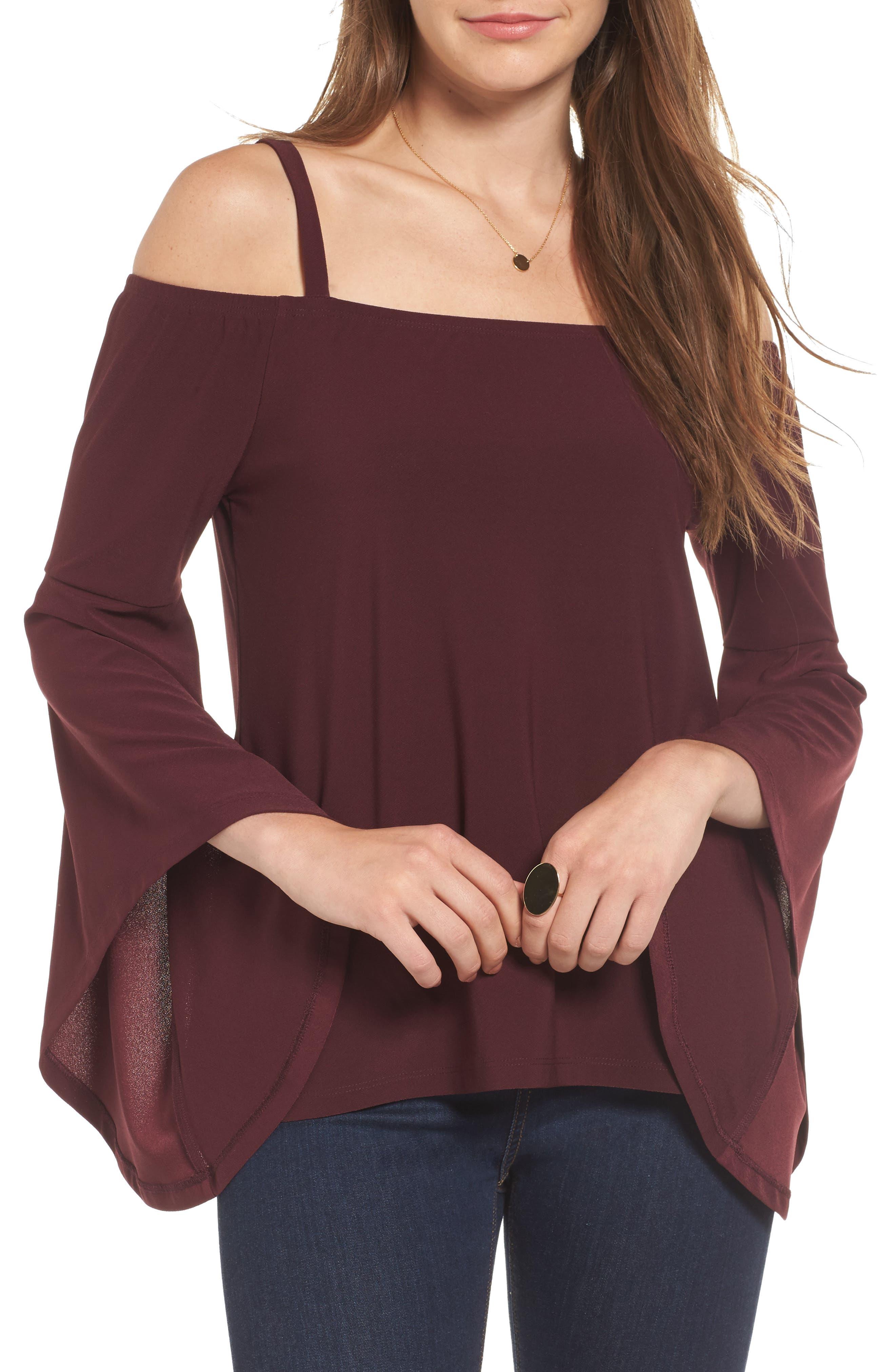 Bell Sleeve Top,                         Main,                         color, Burgundy Stem