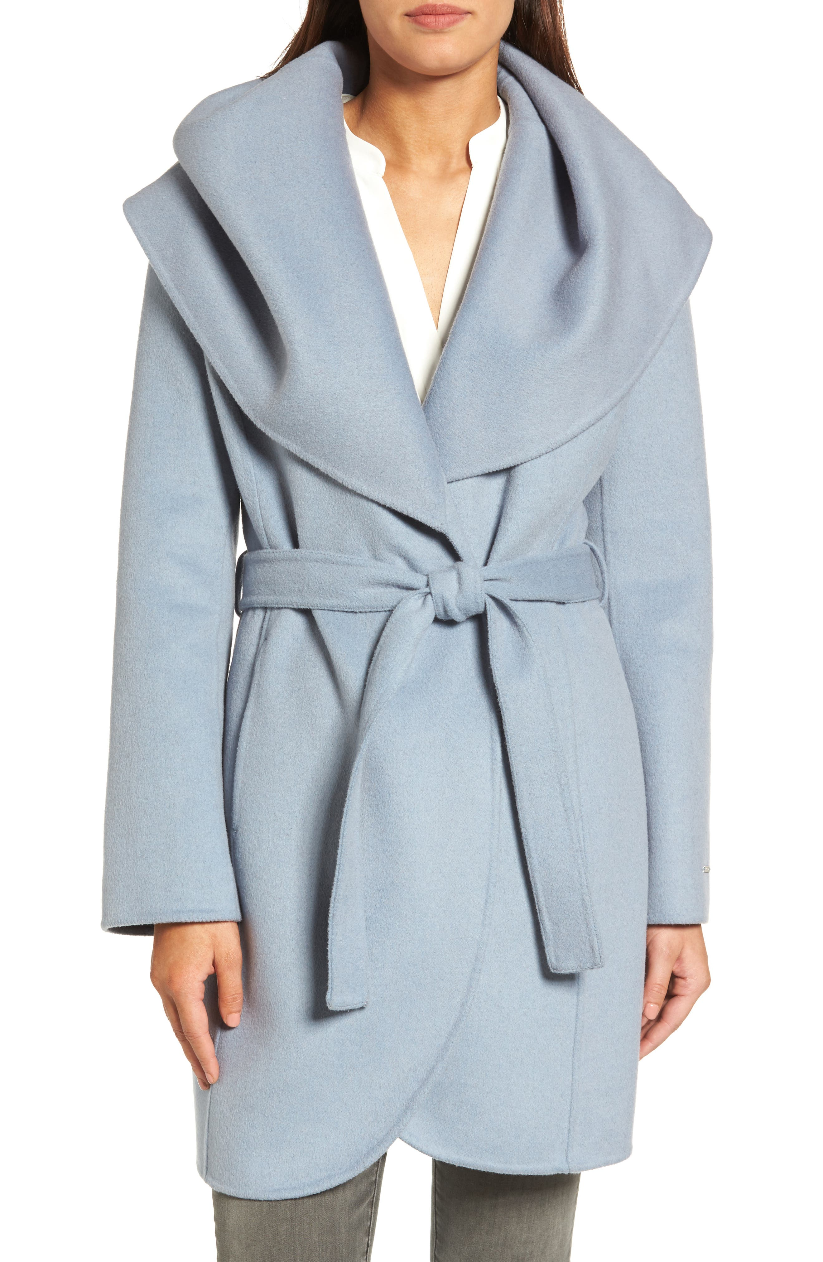 Marla Double Face Wool Blend Wrap Coat,                         Main,                         color, Pale Blue
