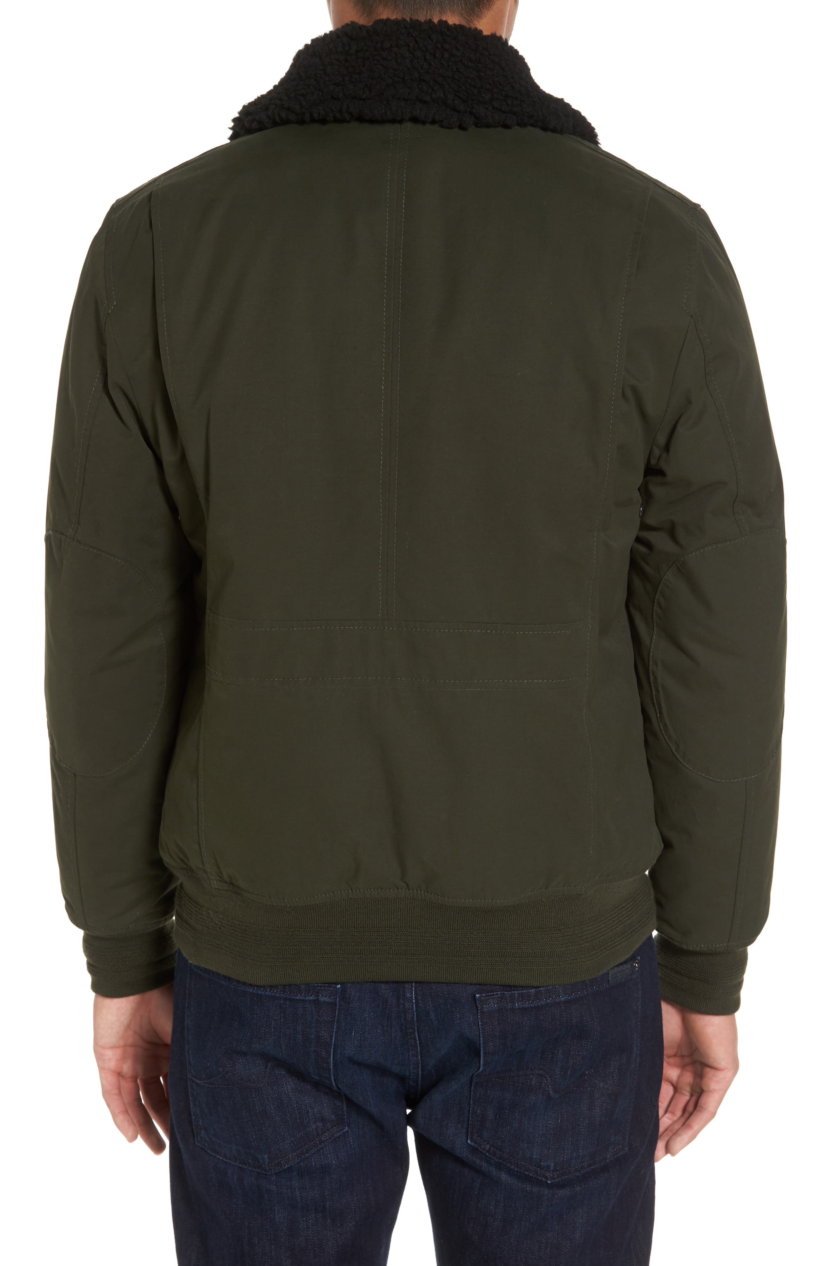 Flight Bomber Jacket with Faux Shearling Trim,                             Alternate thumbnail 2, color,                             Green Forest