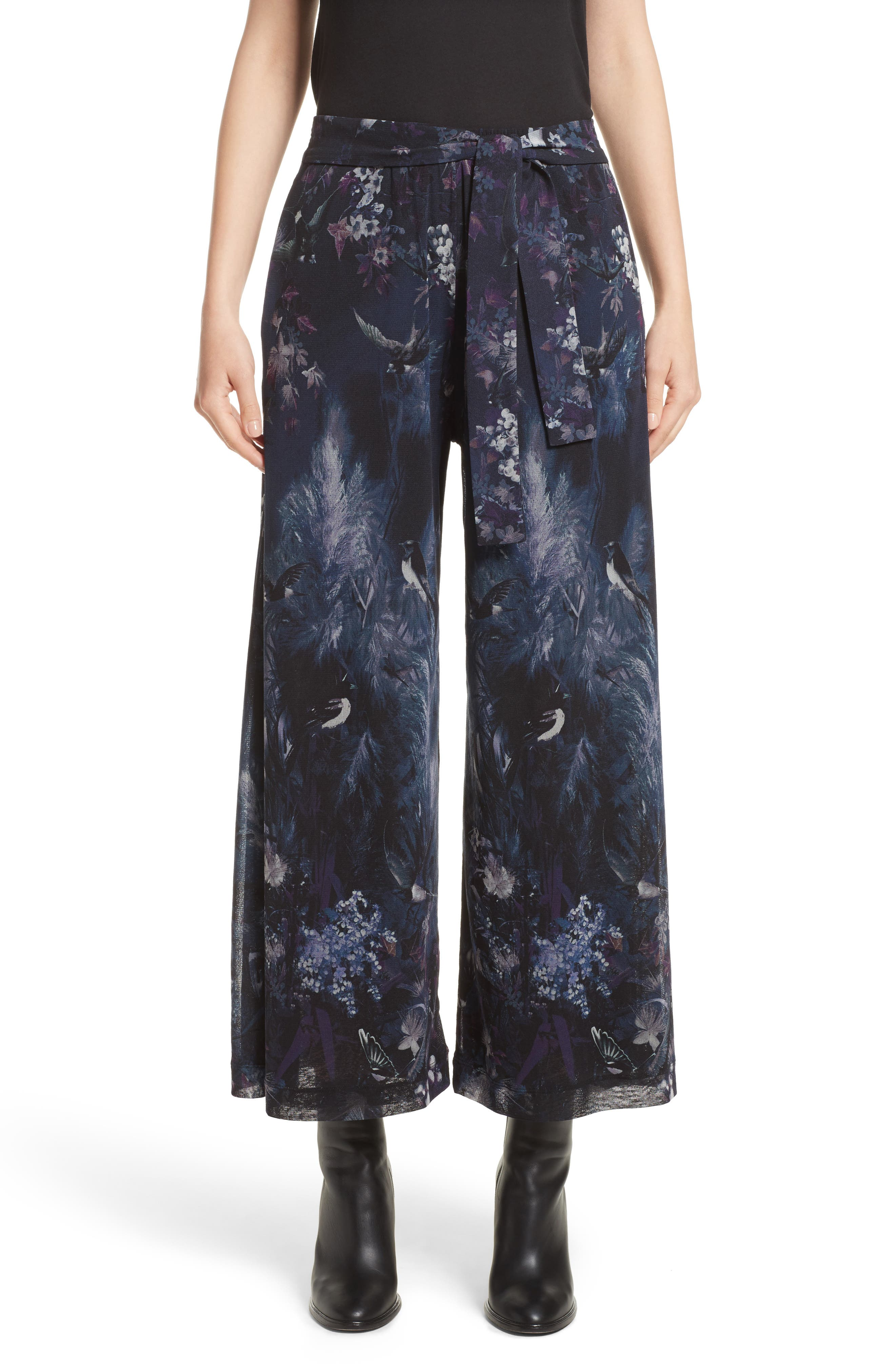 Alternate Image 1 Selected - Fuzzi Floral Print Tulle Belted Karate Pants